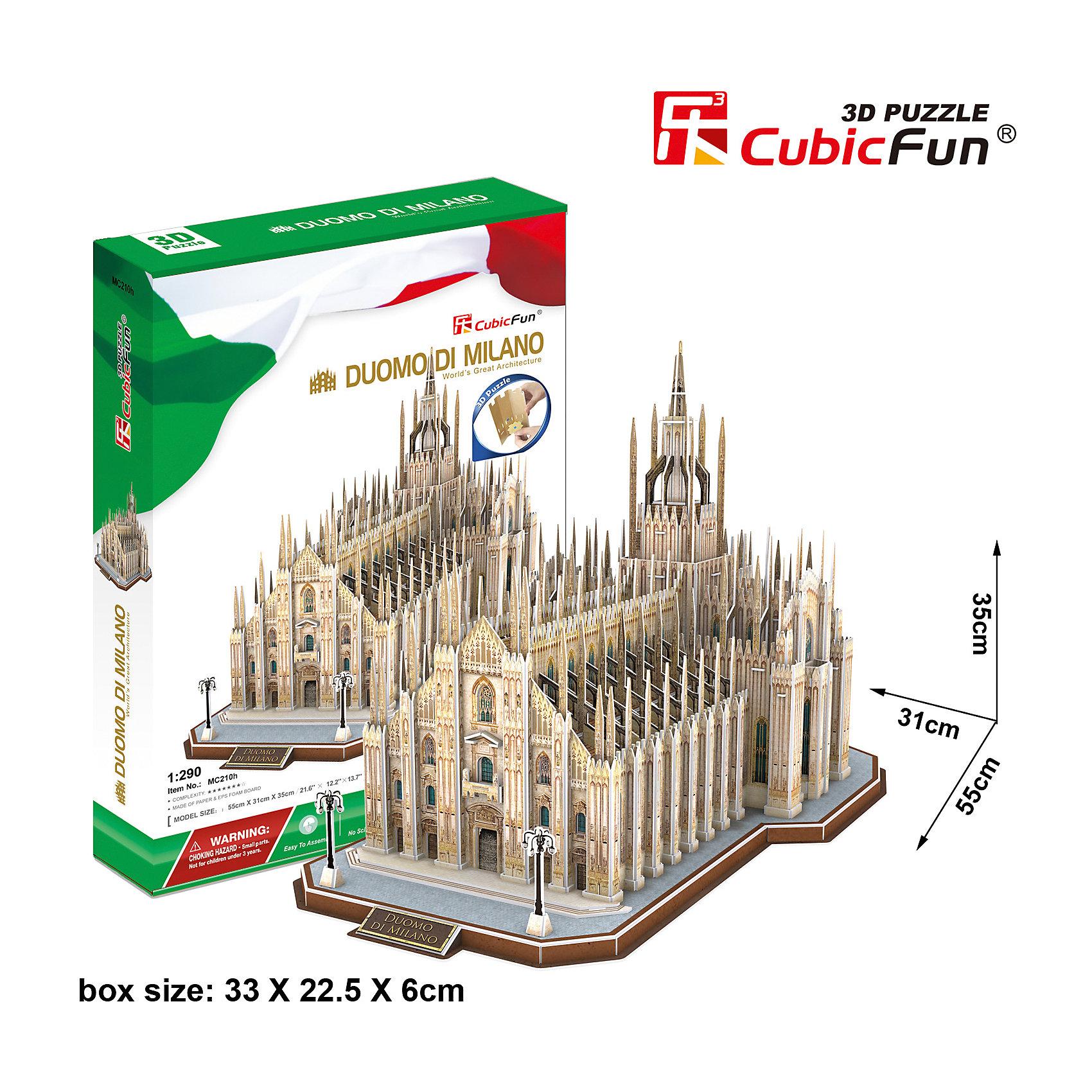 Пазл 3D Миланский Собор (Италия), CubicFunМиланский собор или Дуомо ди Милано, как называют его сами миланцы, является, пожалуй, одной из ярчайших достопримечательностей в Европе. Пятый по величине в мире собор, жемчужина итальянской готики и единственная в Европе беломраморная готическая базилика, история которой насчитывает более шести столетий. Архитектура Миланского собора поражает не только фасадом, но и внутренним убранством – высоченные потолки, грандиозные колонны, мозаичные потолки и множество статуй, главная из которых – золотое изваяние покровительницы Милана. Именно под этими величественными сводами был коронован король Италии и император французов Наполеон I Бонапарт. Теперь у Вас есть возможность воссоздать это удивительное архитектурное сооружение, символ Милана, у себя дома с замечательным набором Cubic Fun MC210h Кубик фан Миланский Собор (Италия).<br><br>Наборы Кубик Фан – это необычные 3D пазлы, которые точно воссоздают объемную масштабированную модель своего прототипа. Для сборки моделей Cubic Fun не нужен клей, детали отлично совмещаются друг с другом.<br><br>Ширина мм: 230<br>Глубина мм: 335<br>Высота мм: 65<br>Вес г: 1110<br>Возраст от месяцев: 72<br>Возраст до месяцев: 192<br>Пол: Унисекс<br>Возраст: Детский<br>SKU: 4951155