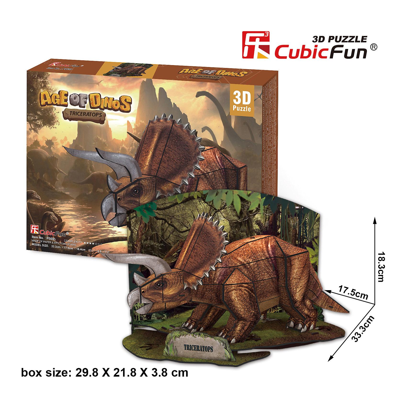 CubicFun Пазл 3D Эра Динозавров Трицератопс, CubicFun cubicfun 3d пазл эйфелева башня 2 франция cubicfun 33 детали