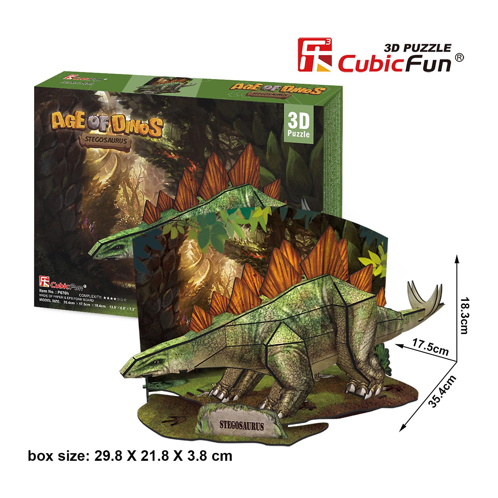 Пазл 3D Эра Динозавров  Стегозавр, CubicFun3D пазлы<br>Стегозавры относились к травоядным ящерам, узнать их очень легко по двум рядам больших костяных пластин вдоль позвоночника. Соединив 49 деталей из высококачественного ламинированного картона, вы получите фигуру стегозавра, стоящего на небольшой полянке посредине доисторического леса.<br><br>Размеры набора в собранном виде достигают 35 сантиметров в длину и 18 в высоту. Для сборки не требуются инструменты и клей.<br><br>Ширина мм: 300<br>Глубина мм: 220<br>Высота мм: 40<br>Вес г: 391<br>Возраст от месяцев: 96<br>Возраст до месяцев: 192<br>Пол: Унисекс<br>Возраст: Детский<br>SKU: 4951160