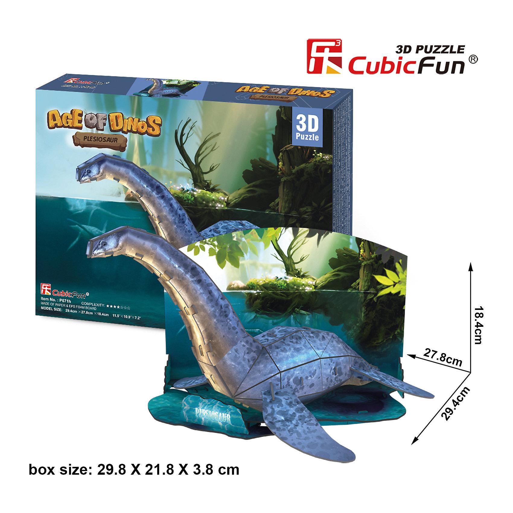 Пазл 3D Эра Динозавров Плезиозавр, CubicFunПлезиозавр был хищным динозавром, хорошо приспособленным к жизни в водоемах. Появились они в морях с начала юры и существовали до конца мелового периода. Соединив 38 деталей из высококачественного ламинированного картона, вы получите фигуру плезиозавра, стоящего в небольшом водоеме, а вокруг доисторический лес.<br><br>Размеры набора в собранном виде достигают 29 сантиметров в длину и 18 в высоту. Для сборки не требуются инструменты и клей.<br><br>Ширина мм: 300<br>Глубина мм: 220<br>Высота мм: 40<br>Вес г: 392<br>Возраст от месяцев: 96<br>Возраст до месяцев: 192<br>Пол: Унисекс<br>Возраст: Детский<br>SKU: 4951161