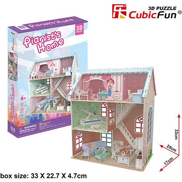 Пазл 3D Дом пианиста, CubicFun3D пазлы<br>Новый 3D пазл Cubic Fun специально для девочек! Модель домика пианиста (а точнее, пианистки) выполнена в ярком дизайне и подойдет не только для украшения интерьера, но и для игры. Здание открытое - нет одной стенки и видны все внутренние помещения, что делает его похожим на кукольный домик. На самом верху, под крышей, расположена спальня в розовых тонах. Здесь находится кроватка, стол для работы, трюмо; на этот этаж можно поместить фигурку девочки. На втором этаже - музыкальная комната с шикарным роялем, а внизу расположена гостиная со всем необходимым для работы и отдыха.<br><br>Домик пианиста легко собирается, все детали сделаны из прочного картона. Высота домика - 33 см, длина - 29 см.<br><br>Ширина мм: 230<br>Глубина мм: 340<br>Высота мм: 50<br>Вес г: 668<br>Возраст от месяцев: 96<br>Возраст до месяцев: 192<br>Пол: Женский<br>Возраст: Детский<br>SKU: 4951163