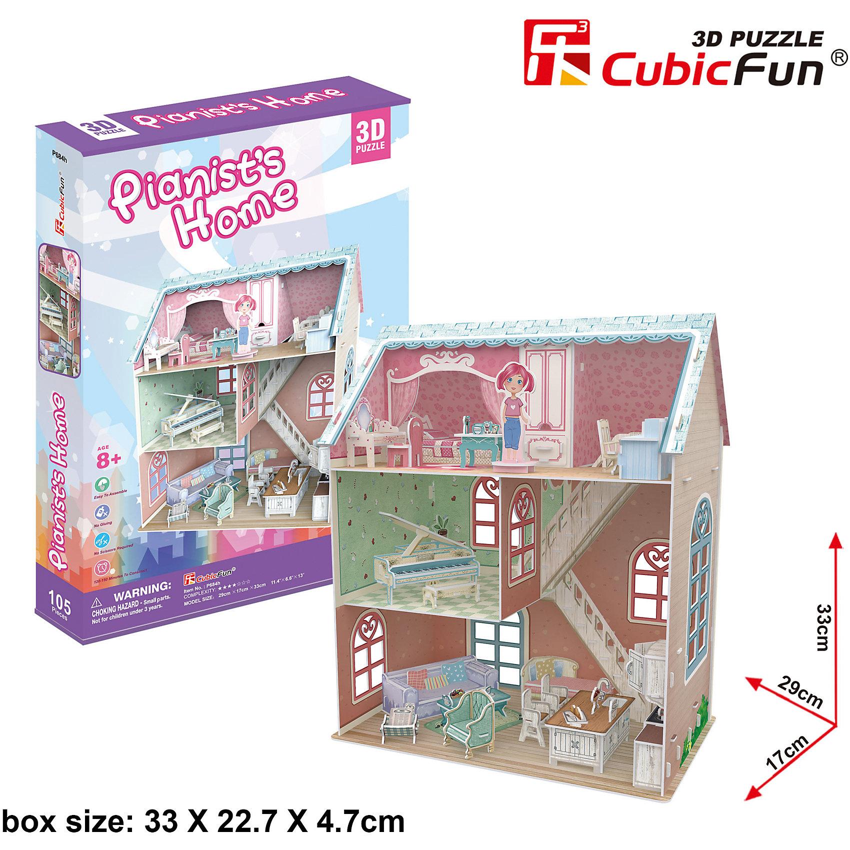 Пазл 3D Дом пианиста, CubicFunНовый 3D пазл Cubic Fun специально для девочек! Модель домика пианиста (а точнее, пианистки) выполнена в ярком дизайне и подойдет не только для украшения интерьера, но и для игры. Здание открытое - нет одной стенки и видны все внутренние помещения, что делает его похожим на кукольный домик. На самом верху, под крышей, расположена спальня в розовых тонах. Здесь находится кроватка, стол для работы, трюмо; на этот этаж можно поместить фигурку девочки. На втором этаже - музыкальная комната с шикарным роялем, а внизу расположена гостиная со всем необходимым для работы и отдыха.<br><br>Домик пианиста легко собирается, все детали сделаны из прочного картона. Высота домика - 33 см, длина - 29 см.<br><br>Ширина мм: 230<br>Глубина мм: 340<br>Высота мм: 50<br>Вес г: 668<br>Возраст от месяцев: 96<br>Возраст до месяцев: 192<br>Пол: Женский<br>Возраст: Детский<br>SKU: 4951163