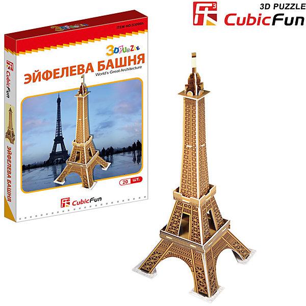 Пазл 3D Эйфелева башня (Франция) (мини серия), CubicFun3D пазлы<br>Cubic Fun S3006 Кубик фан Эйфелева башня (Франция) (мини серия)<br>Башня является самой узнаваемой архитектурной достопримечательностью Парижа, имеет мировую известность как символ Франции. Названа в честь своего конструктора Густава Эйфеля.<br>Уровень сложности - 2<br>Функции:<br>- помогает в развитии логики и творческих способностей ребенка;<br>- помогает в формировании мышления, речи, внимания, восприятия и воображения;<br>- развивает моторику рук;<br>- расширяет кругозор ребенка и стимулирует к познанию новой информации;<br>Практические характеристики:<br>- обучающая, яркая и реалистичная модель;<br>- идеально и легко собирается без инструментов;<br>- увлекательный игровой процесс;<br>- тематический ассортимент;<br>- новый качественный материал (ламинированный пенокартон).<br>Ширина мм: 20; Глубина мм: 160; Высота мм: 250; Вес г: 118; Возраст от месяцев: 72; Возраст до месяцев: 192; Пол: Унисекс; Возраст: Детский; SKU: 4951165;