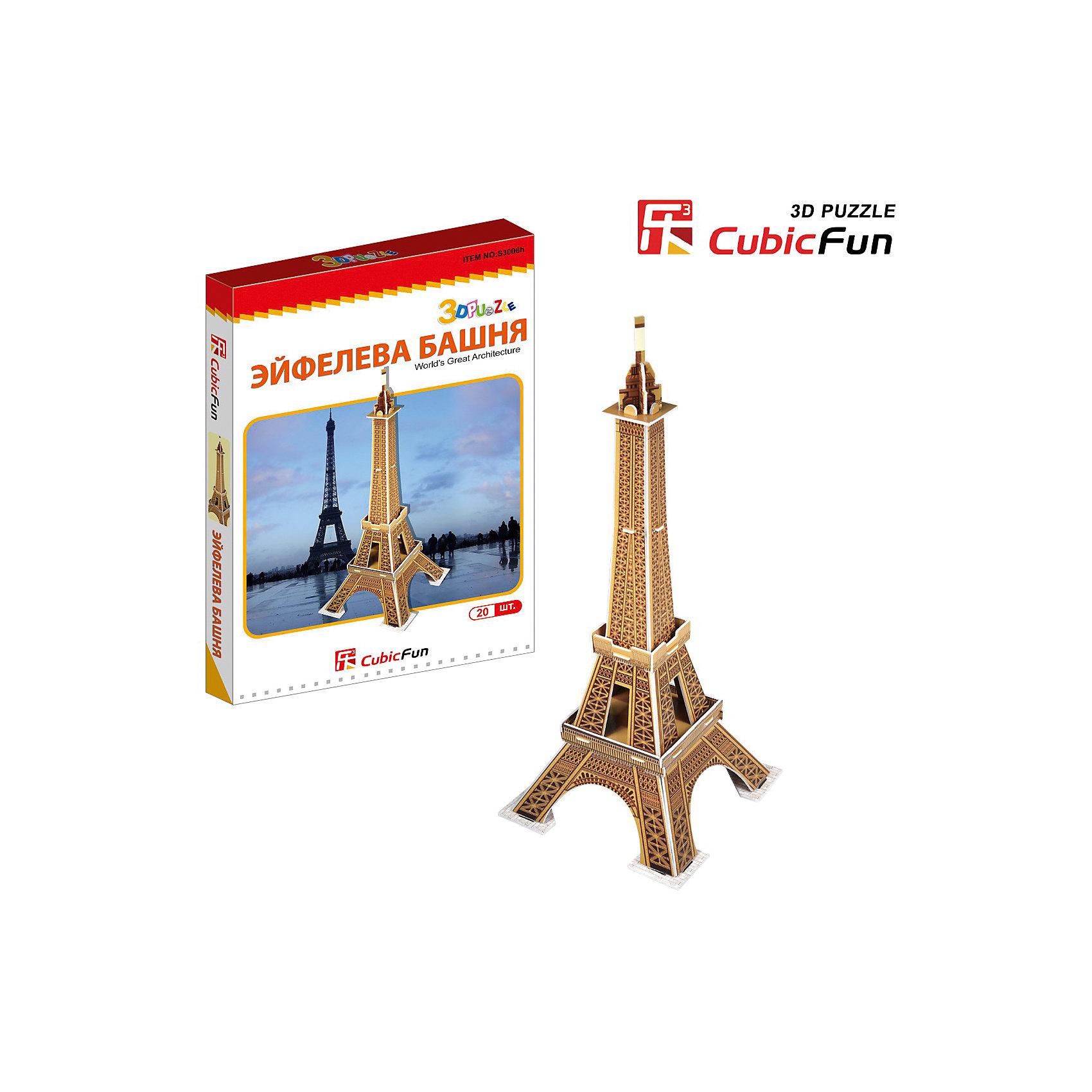 Пазл 3D Эйфелева башня (Франция) (мини серия), CubicFun3D пазлы<br>Cubic Fun S3006 Кубик фан Эйфелева башня (Франция) (мини серия)<br>Башня является самой узнаваемой архитектурной достопримечательностью Парижа, имеет мировую известность как символ Франции. Названа в честь своего конструктора Густава Эйфеля.<br>Уровень сложности - 2<br>Функции:<br>- помогает в развитии логики и творческих способностей ребенка;<br>- помогает в формировании мышления, речи, внимания, восприятия и воображения;<br>- развивает моторику рук;<br>- расширяет кругозор ребенка и стимулирует к познанию новой информации;<br>Практические характеристики:<br>- обучающая, яркая и реалистичная модель;<br>- идеально и легко собирается без инструментов;<br>- увлекательный игровой процесс;<br>- тематический ассортимент;<br>- новый качественный материал (ламинированный пенокартон).<br><br>Ширина мм: 20<br>Глубина мм: 160<br>Высота мм: 250<br>Вес г: 118<br>Возраст от месяцев: 72<br>Возраст до месяцев: 192<br>Пол: Унисекс<br>Возраст: Детский<br>SKU: 4951165