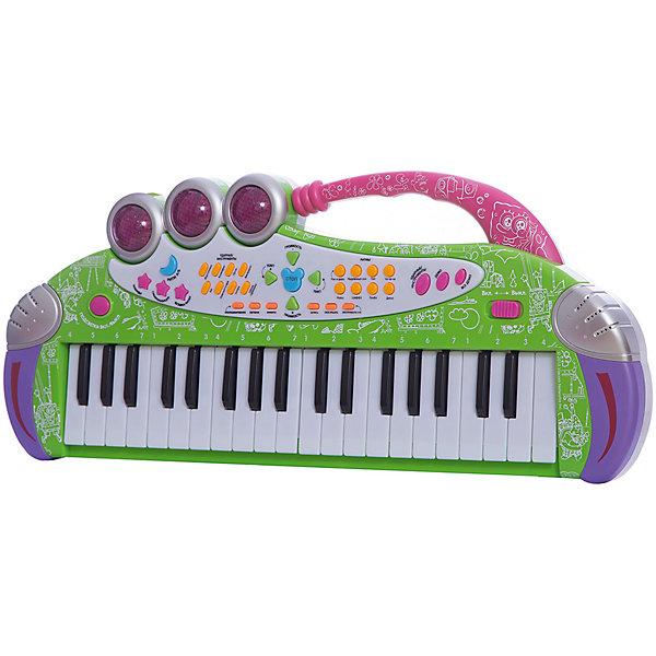 Игрушка-синтезатор Весенняя мелодия , с микрофоном, со светом, Губка БобСинтезаторы<br>Многофункциональный синтезатор Губка Боб познакомит ребёнка с увлекательным миром музыки. С этим музыкальным инструментом не придётся скучать: записывайте и прослушивайте звук, воспроизводите уже готовые мелодии или создавайте свои!  В процессе игры развивается звуковое восприятие и творческое мышление. <br><br>Преимущества:<br>37 электронных клавиш <br>36 функциональных кнопок<br>16 музыкальных инструментов<br>16 ритмов<br>8 ударных инструментов<br>6 демонстрационных мелодий<br>Регулировка громкости и темпа<br>Обучающая программа<br>Функция Запись\Воспроизведение<br>Взятие аккордов одним или несколькими пальцами<br>Функция Автовыключение<br>Световые эффекты<br>Микрофон<br><br>Ширина мм: 525<br>Глубина мм: 220<br>Высота мм: 65<br>Вес г: 930<br>Возраст от месяцев: 36<br>Возраст до месяцев: 72<br>Пол: Унисекс<br>Возраст: Детский<br>SKU: 4951865