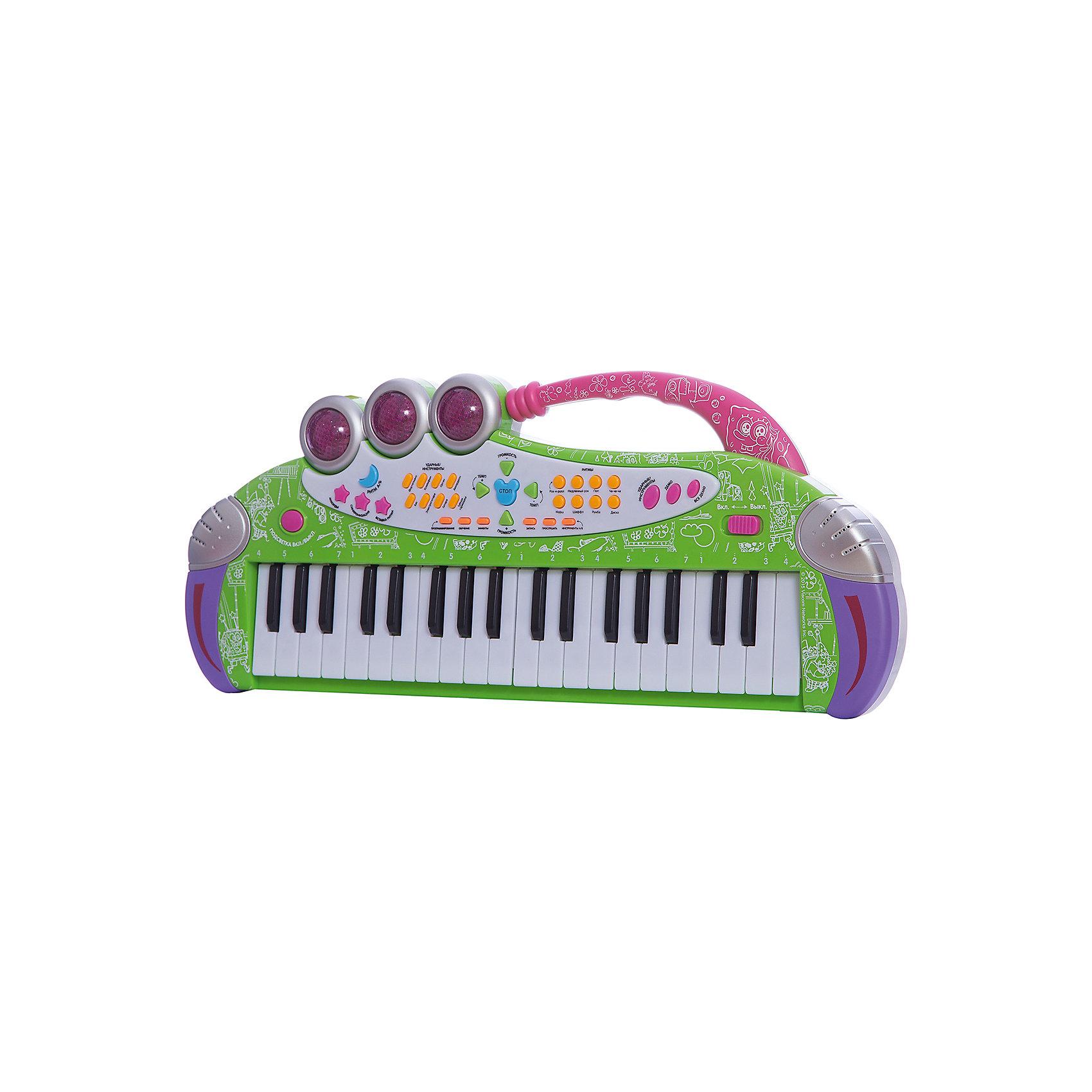 Игрушка-синтезатор Весенняя мелодия , с микрофоном, со светом, Губка БобИгрушки<br>Многофункциональный синтезатор Губка Боб познакомит ребёнка с увлекательным миром музыки. С этим музыкальным инструментом не придётся скучать: записывайте и прослушивайте звук, воспроизводите уже готовые мелодии или создавайте свои!  В процессе игры развивается звуковое восприятие и творческое мышление. <br><br>Преимущества:<br>37 электронных клавиш <br>36 функциональных кнопок<br>16 музыкальных инструментов<br>16 ритмов<br>8 ударных инструментов<br>6 демонстрационных мелодий<br>Регулировка громкости и темпа<br>Обучающая программа<br>Функция Запись\Воспроизведение<br>Взятие аккордов одним или несколькими пальцами<br>Функция Автовыключение<br>Световые эффекты<br>Микрофон<br><br>Ширина мм: 525<br>Глубина мм: 220<br>Высота мм: 65<br>Вес г: 930<br>Возраст от месяцев: 36<br>Возраст до месяцев: 72<br>Пол: Унисекс<br>Возраст: Детский<br>SKU: 4951865