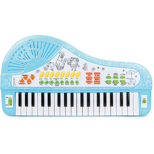 Cинтезатор-рояль Симфония радости, с микрофоном, Губка БобСинтезаторы<br>Многофункциональный синтезатор Губка Боб познакомит ребёнка с увлекательным миром музыки. С этим музыкальным инструментом не придётся скучать: записывайте и прослушивайте звук, воспроизводите уже готовые мелодии или создавайте свои!  В процессе игры развивается звуковое восприятие и творческое мышление. <br>Преимущества:<br>37 электронных клавиш <br>34 функциональные кнопки<br>8 музыкальных инструментов<br>8 ритмов<br>4 ударных инструмента<br>4 дополнительных звука<br>Демонстрационные мелодии<br>Регулировка громкости и темпа<br>Функция Запись\Воспроизведение<br>Работа от сети<br>Микрофон<br> <br>Адаптер для работы от сети в комплект не входит.<br>Ширина мм: 490; Глубина мм: 270; Высота мм: 60; Вес г: 1060; Возраст от месяцев: 36; Возраст до месяцев: 72; Пол: Унисекс; Возраст: Детский; SKU: 4951866;