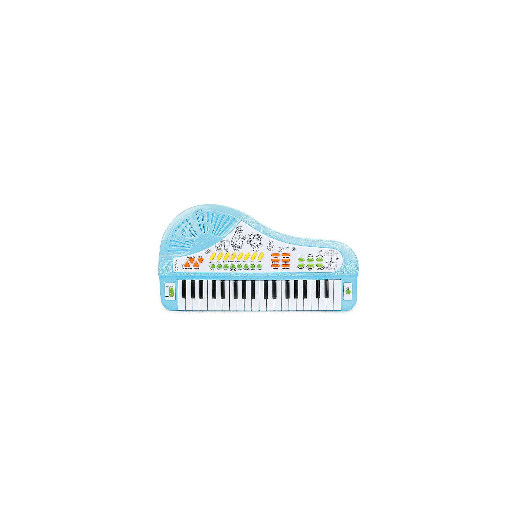 Cинтезатор-рояль Симфония радости, с микрофоном, Губка БобИгрушки<br>Многофункциональный синтезатор Губка Боб познакомит ребёнка с увлекательным миром музыки. С этим музыкальным инструментом не придётся скучать: записывайте и прослушивайте звук, воспроизводите уже готовые мелодии или создавайте свои!  В процессе игры развивается звуковое восприятие и творческое мышление. <br>Преимущества:<br>37 электронных клавиш <br>34 функциональные кнопки<br>8 музыкальных инструментов<br>8 ритмов<br>4 ударных инструмента<br>4 дополнительных звука<br>Демонстрационные мелодии<br>Регулировка громкости и темпа<br>Функция Запись\Воспроизведение<br>Работа от сети<br>Микрофон<br> <br>Адаптер для работы от сети в комплект не входит.<br><br>Ширина мм: 490<br>Глубина мм: 270<br>Высота мм: 60<br>Вес г: 1060<br>Возраст от месяцев: 36<br>Возраст до месяцев: 72<br>Пол: Унисекс<br>Возраст: Детский<br>SKU: 4951866