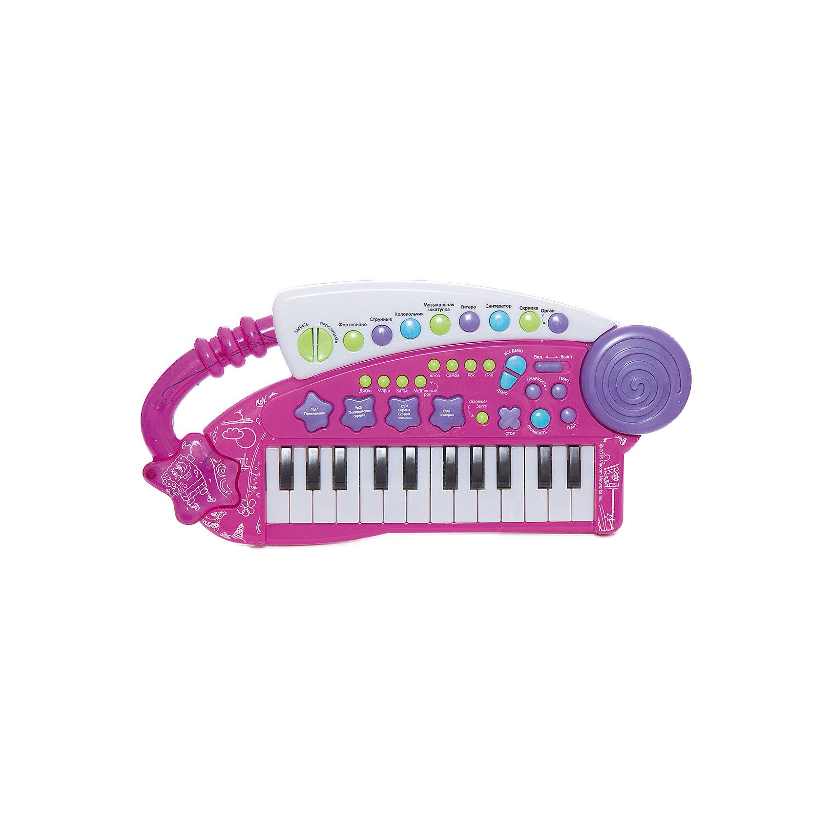 Игрушка-синтезатор Фейерверк звуков, Губка БобИгрушки<br>Многофункциональный синтезатор Губка Боб познакомит ребёнка с увлекательным миром музыки. С этим музыкальным инструментом не придётся скучать: записывайте и прослушивайте звук, воспроизводите уже готовые мелодии или создавайте свои!  В процессе игры развивается звуковое восприятие и творческое мышление. <br><br>Преимущества:<br>24 электронные клавиши <br>31 функциональная кнопка<br>8 музыкальных инструментов<br>8 ритмов<br>4 ударных инструмента<br>4 дополнительных звука<br>Демонстрационные мелодии<br>Регулировка громкости и темпа<br>Функция Запись\Воспроизведение<br>Световые эффекты<br><br>Ширина мм: 375<br>Глубина мм: 210<br>Высота мм: 50<br>Вес г: 560<br>Возраст от месяцев: 36<br>Возраст до месяцев: 72<br>Пол: Унисекс<br>Возраст: Детский<br>SKU: 4951867