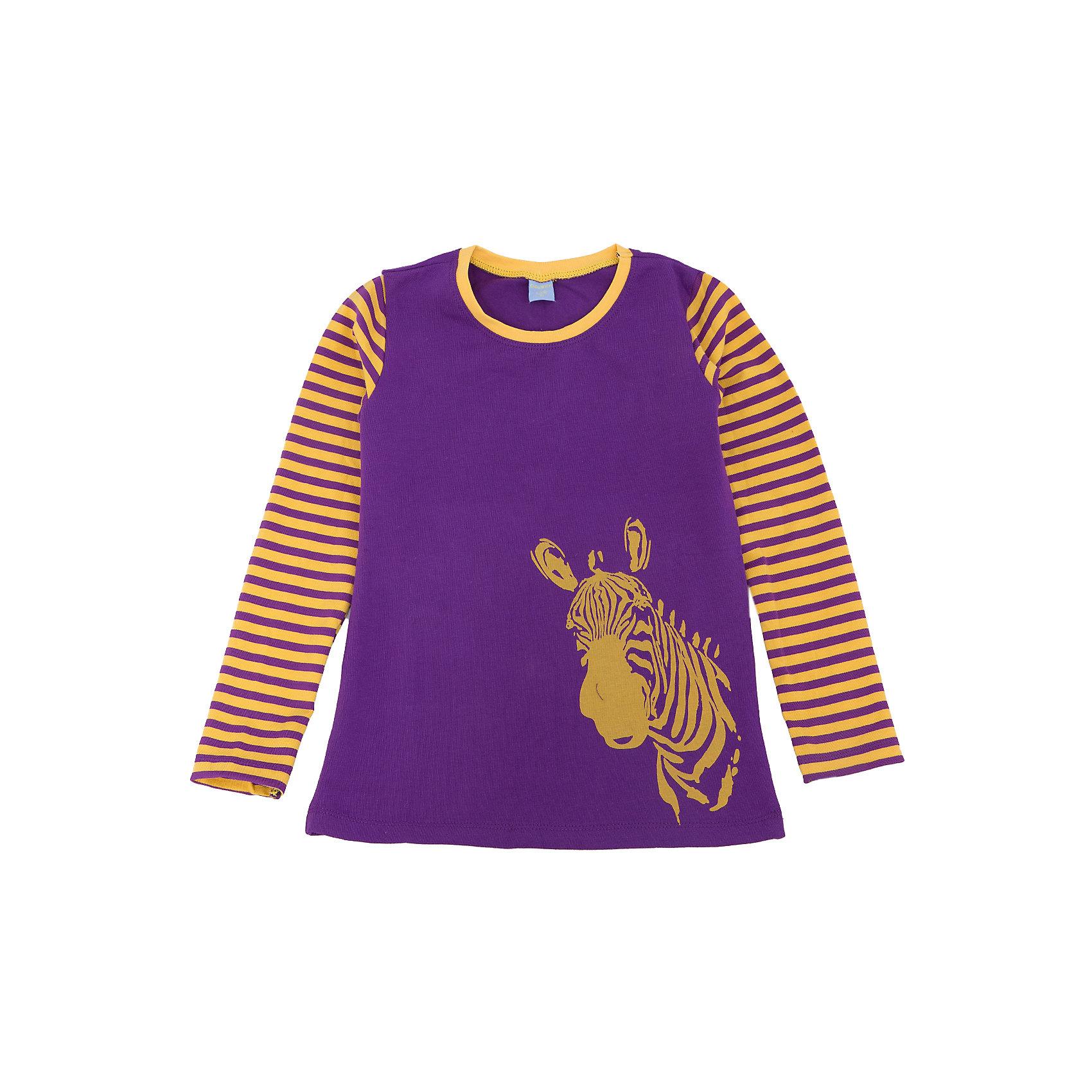 Футболка с длинным рукавом для девочки DAUBERФутболки с длинным рукавом<br>Характеристики:<br><br>• Состав: 95%хлопок, 5% лайкра.<br>• Цвет: фиолетовый.<br>• Материал: трикотаж.<br><br>Футболка для девочки от российского бренда DAUBER.<br>Модный трикотажный джемпер фиолетового цвета выполнен из хлопкового трикотажа. Джемпер украшен оригинальным желтым принтом в виде головы зебры и полосками на рукавах. В таком джемпере ваша девочка будет чувствовать себя комфортно и уютно как дома, так и наулице.<br><br>Джемпер для девочки DAUBER, можно купить в нашем интернет - магазине.<br><br>Ширина мм: 190<br>Глубина мм: 74<br>Высота мм: 229<br>Вес г: 236<br>Цвет: фиолетовый<br>Возраст от месяцев: 60<br>Возраст до месяцев: 72<br>Пол: Женский<br>Возраст: Детский<br>Размер: 116,98,104,110<br>SKU: 4953331