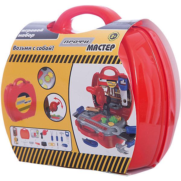 Набор в чемоданчике Профи Мастер, 1toyНаборы инструментов<br>Несомненно, каждый ребенок стремится помогать родителям в домашних делах. С набором Профи Мастермальчик сможет создать свою собственную неповторимую мастерскую со всеми необходимыми инструментами. В наборе есть пила, отвертка молоток и даже вращающаяся циркулярная пила. чемоданчик удобно раскладывается в столик. Игра отлично развивает мелкую моторику и помогает ребенку почувствовать себя настоящим мастером на все руки!<br><br>Дополнительная информация:<br>В наборе: 19 инструментов и аксессуаров, наклейки, 2 выдвижных столика<br>Материал: пластик<br>Размер: 20х10х24 см<br>Вес: 620 грамм<br>Вы можете приобрести набор Профи Мастер в нашем интернет-магазине.<br>Ширина мм: 240; Глубина мм: 100; Высота мм: 200; Вес г: 620; Возраст от месяцев: 24; Возраст до месяцев: 120; Пол: Мужской; Возраст: Детский; SKU: 4953628;
