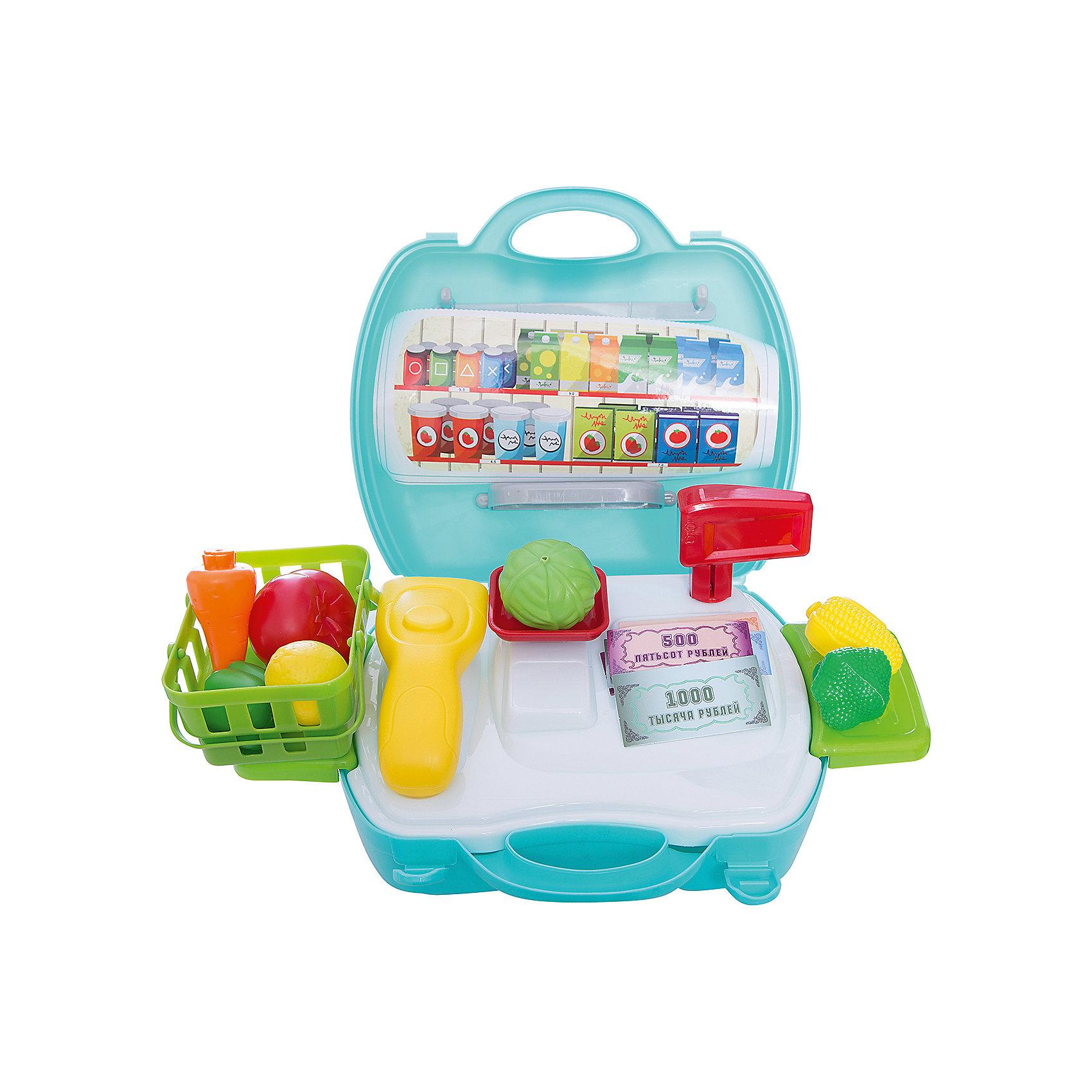 Набор в чемоданчике Профи Продавец Супермаркета, 23 предмета, 1toyДетские магазины и аксесссуары<br>Продавец супермаркета - набор, который прекрасно подходит для сюжетно-ролевых игр. В наборе есть все необходимые настоящему кассиру предметы: касса, сканер, весы, овощи, корзинка и много другое. Для удобства ребенка есть 2 выдвижных столика и красивые наклейки, которыми можно украсить свое рабочее место. Игра хорошо развивает мелкую моторику и воображение. Прекрасно подойдет для игр с друзьями и родителями!<br><br>Дополнительная информация:<br>В наборе: корзинка, овощи, 2 выдвижных столика, касса, сканер, весы, коробочки, наклейки<br>Материал: пластик<br>Размер: 24,5х10х22,5 см<br>Вес: 578 грамм<br>Вы можете купить набор Продавец супермаркета в нашем интернет-магазине.<br><br>Ширина мм: 225<br>Глубина мм: 100<br>Высота мм: 245<br>Вес г: 578<br>Возраст от месяцев: 24<br>Возраст до месяцев: 120<br>Пол: Унисекс<br>Возраст: Детский<br>SKU: 4953629