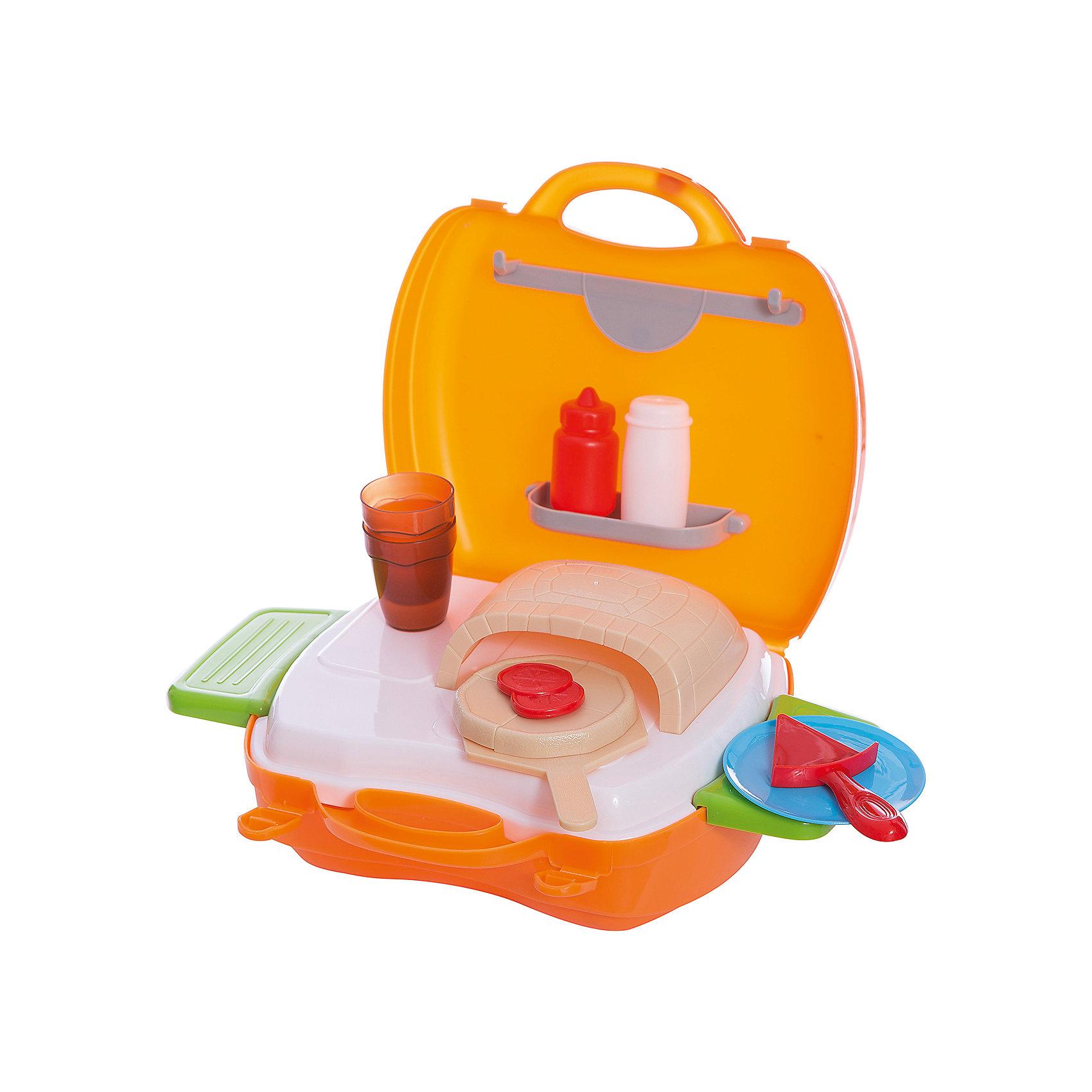 Набор в чемоданчике Мастер-Шеф Пицца, 22 предмета , 1toyС игровым набором Мастер Шеф. Пицца ребенок сможет создать самую вкусную пиццу для своих игрушек. В наборе есть все, что понадобится начинающему повару: печь, лопатка, противень, поднос, соусы и многое другое. С помощью наклеек ребенок сможет украсить мини-пекарню по своему вкусу. Кроме того, игра поможет развить мелкую моторику, фантазию и воображение.  Все предметы легко складываются в удобный чемоданчик, чтобы можно было играть с друзьями даже на улице. Отличный подарок для юного повара!<br><br>Дополнительная информация:<br>В наборе: печка, противень, лопатка, поднос, баночки для соусов, посуда, коробка для доставки пиццы, наклейки, 2 выдвижных столика<br>Материал: пластик<br>Размер: 20х10х24 см<br>Вес: 587 грамм<br>Вы можете приобрести набор Мастер Шеф. Пицца в нашем интернет-магазине.<br><br>Ширина мм: 240<br>Глубина мм: 100<br>Высота мм: 200<br>Вес г: 587<br>Возраст от месяцев: 24<br>Возраст до месяцев: 120<br>Пол: Унисекс<br>Возраст: Детский<br>SKU: 4953630
