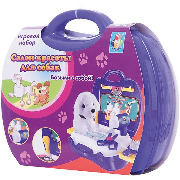 Набор в чемоданчике Салон красоты для собак, 16 предметов, 1toyСалон красоты<br>Набор Салон красоты для собак позволит ребенку почувствовать себя настоящим грумером. Ребенок сможет поухаживать за очаровательной собачкой с помощью фена, расчески, ножниц и различных шампуней. Такая игра прекрасно развивает фантазию, воображение и мелкую моторику. Этот подарок несомненно понравится любителям животных.<br><br>Дополнительная информация:<br>В наборе: собачка, фен, щенок, расческа, баночки для шампуней и бальзамов, ножницы, наклейки, 2 выдвижных столика<br>Материал: пластмасса<br>Размер: 9х22х20 см<br>Вес: 592 грамма<br>Вы можете приобрести набор Салон красоты для собак в нашем интернет-магазине.<br>Ширина мм: 200; Глубина мм: 220; Высота мм: 90; Вес г: 592; Возраст от месяцев: 24; Возраст до месяцев: 120; Пол: Женский; Возраст: Детский; SKU: 4953633;