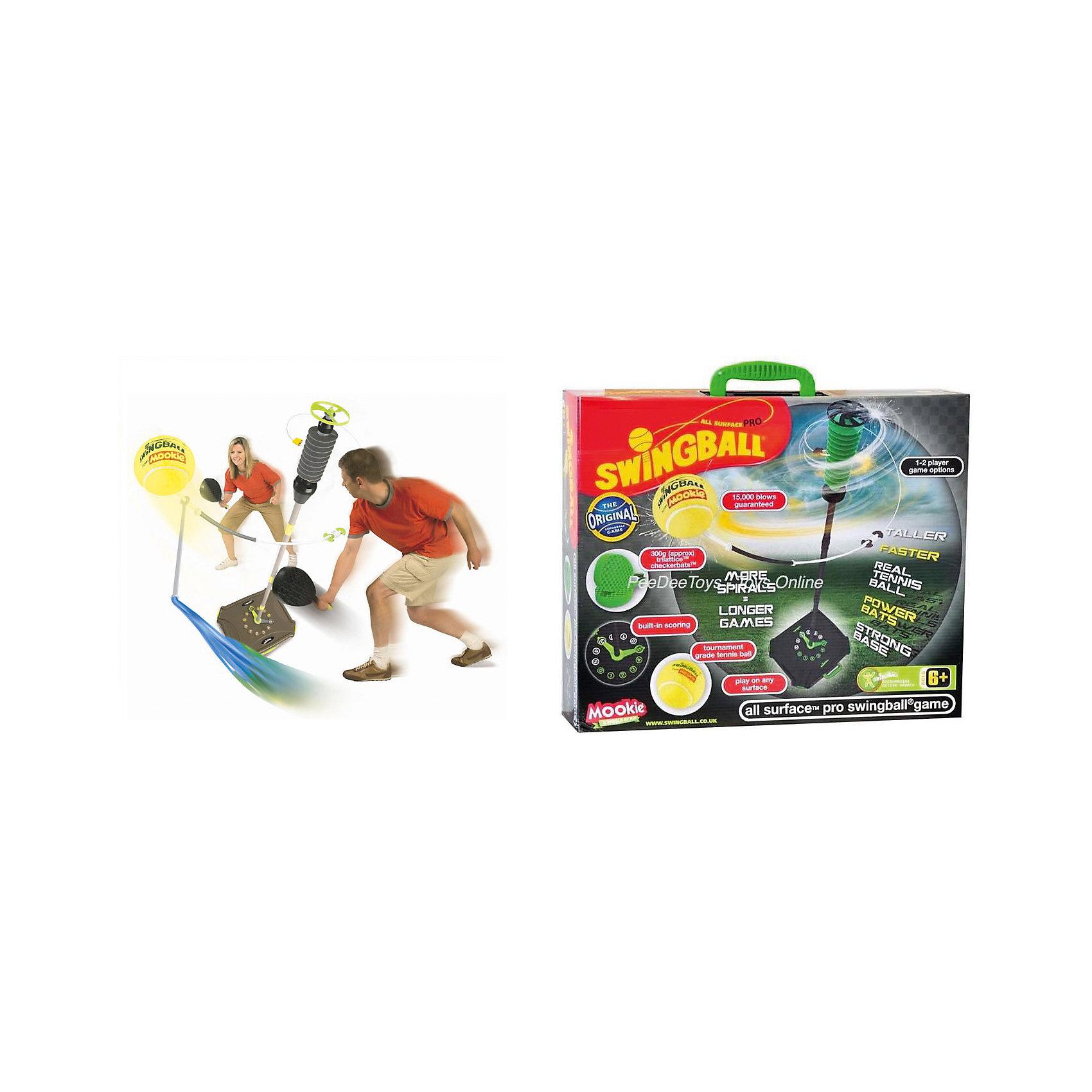Набор Веселый теннис Pro Swingball , MookieВеселый теннис - прекрасный набор для активного отдыха. Устойчивая конструкция  с мячиком на подставке со счетоводом поможет развить скорость реакции детей. Ракетки с рельефной поверхностью, максимально удобной для игры. Удобная сумка поможет легко переносить и транспортировать набор. Хороший выбор для активных детей!<br><br>Дополнительная информация:<br>В наборе: 2 ракетки,  мячик на тросе, кейс-подставка, стойка<br>Материал: пластик<br>Размер: 13х41,5х50 см<br>Вес: 3850 грамм<br>Вы можете купить набор Веселый теннис в нашем интернет-магазине.<br><br>Ширина мм: 500<br>Глубина мм: 415<br>Высота мм: 130<br>Вес г: 3850<br>Возраст от месяцев: 36<br>Возраст до месяцев: 120<br>Пол: Унисекс<br>Возраст: Детский<br>SKU: 4953644