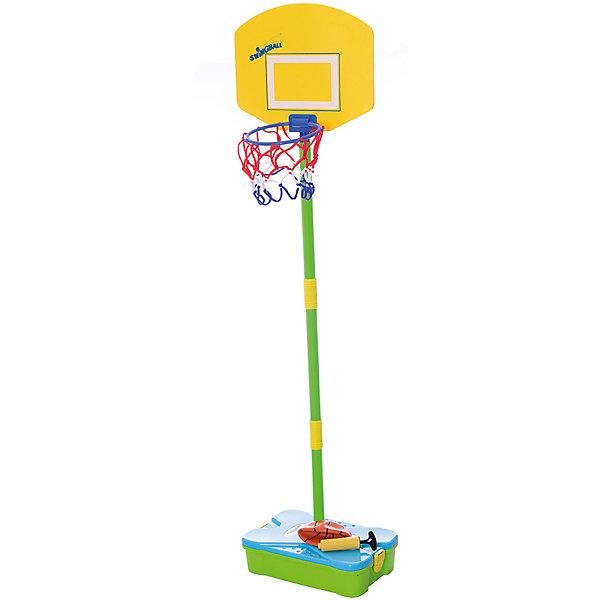 Баскетбольный набор (база, стойка, кольцо, сетка), MookieИгровые наборы<br>Набор First Basketball Set создан специально для любителей активных игр. Чтобы начать играть в баскетбол, достаточно собрать стойку и установить корзину и щит. Все элементы набора удобно складываются в чемоданчик, благодаря чему ребенок сможет играть и вне дома. Стойка регулируется по мере роста ребенка. Прекрасный вариант для активных мальчиков и девочек!<br><br>Дополнительная информация:<br>В наборе: основа, баскетбольный мяч, насос, корзина, сборная штанга<br>Материал: резина, пластик, текстиль<br>Размер: 33х12х42 см<br>Вес: 913 грамм<br>Набор First Basketball Set можно купить в нашем интернет-магазине.<br>Ширина мм: 420; Глубина мм: 120; Высота мм: 330; Вес г: 913; Возраст от месяцев: 60; Возраст до месяцев: 120; Пол: Унисекс; Возраст: Детский; SKU: 4953646;
