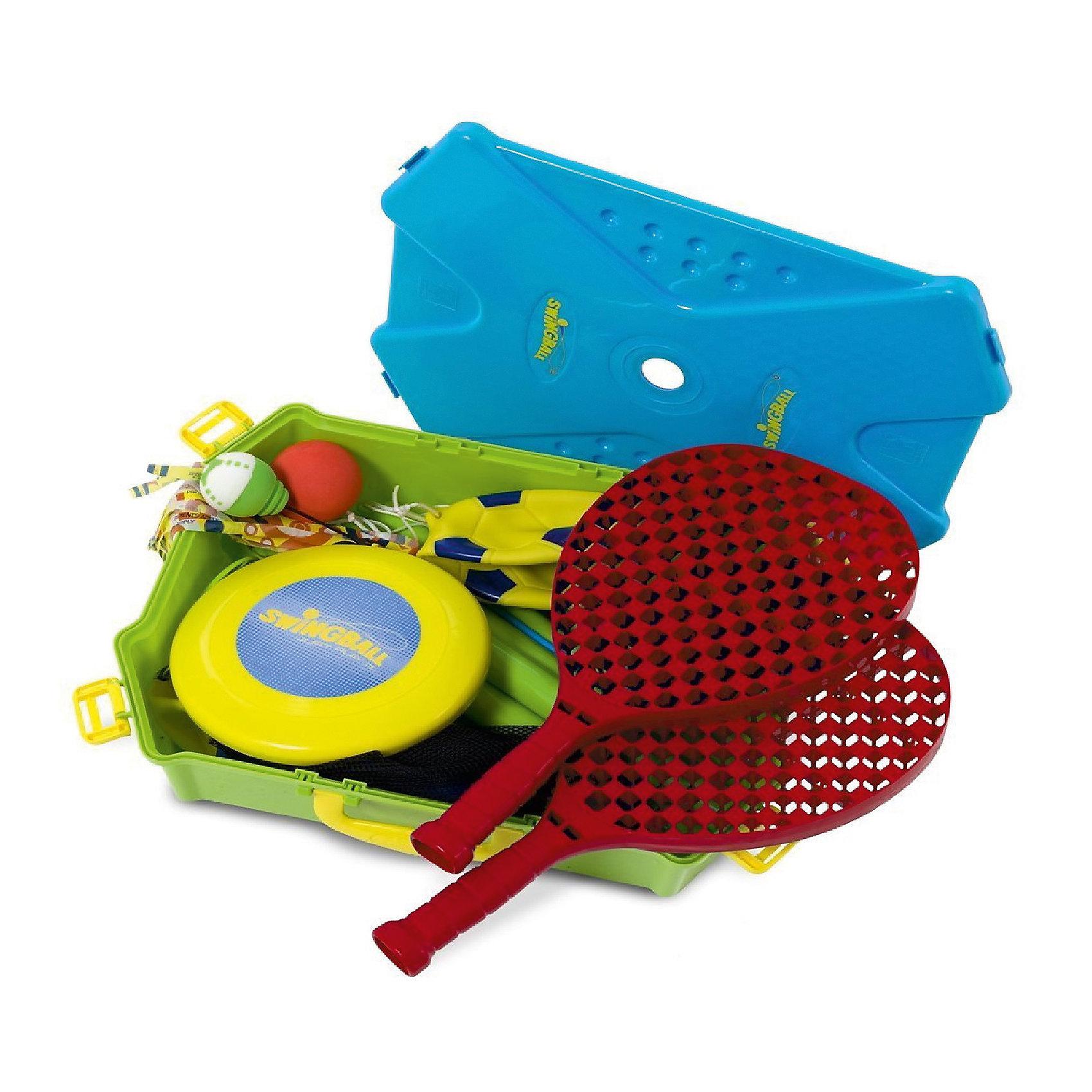 Набор спортивных  игр 5-в-1, MookieИгровые наборы<br>5 в 1 - набор спортивных игр, созданный специально для любителей активного отдыха. В наборе детали для пяти игр: волейбол, бадминтон, теннис, фрисби, футбол. Для большей устойчивости стойку можно заполнить песком или водой. Все игры легко собираются, разбираются и удобно хранятся в кейсе. С этим набором ребенок всегда сможет провести время с пользой.<br><br>Дополнительная информация:<br>Размер: 14х33х42 см<br>Вес: 1058 грамм<br>Вы можете купить набор 5 в 1 в нашем интернет-магазине.<br><br>Ширина мм: 420<br>Глубина мм: 330<br>Высота мм: 140<br>Вес г: 1058<br>Возраст от месяцев: 72<br>Возраст до месяцев: 120<br>Пол: Унисекс<br>Возраст: Детский<br>SKU: 4953648