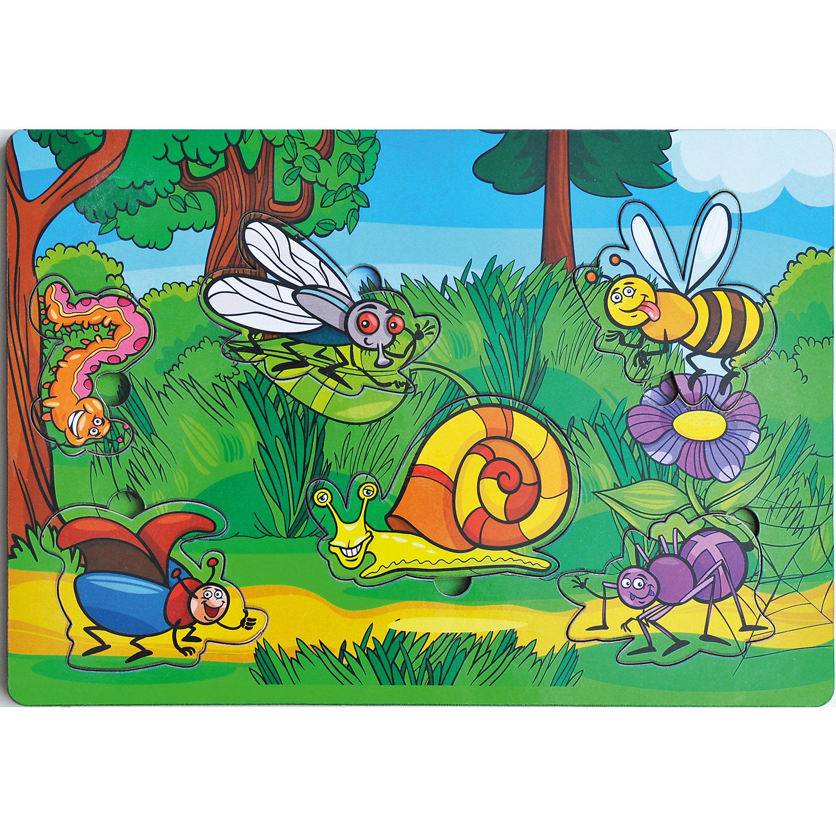 Развивающая рамка-вкладыш  «Букашки», Мастер игрушекДеревянные игры и пазлы<br>Букашки - яркая рамка-вкладыш, с помощью которого ребенок познакомится с крохотными обитателями животного мира, рассмотрит их, вытащив из ячеек и найдет им свой домик, вставив их обратно. Яркая картинка понравится малышу, а игра поможет развить мелкую моторику, координацию и обогатить словарный запас.<br><br>Дополнительная информация:<br>В комплекте: 6 вкладышей, рамка<br>Материал: дерево<br>Размер: 0,5х20х28 см<br>Вес: 260 грамм<br>Вы можете купить рамку-вкладыш Букашки в нашем интернет-магазине.<br><br>Ширина мм: 280<br>Глубина мм: 200<br>Высота мм: 5<br>Вес г: 260<br>Возраст от месяцев: 36<br>Возраст до месяцев: 120<br>Пол: Унисекс<br>Возраст: Детский<br>SKU: 4953656