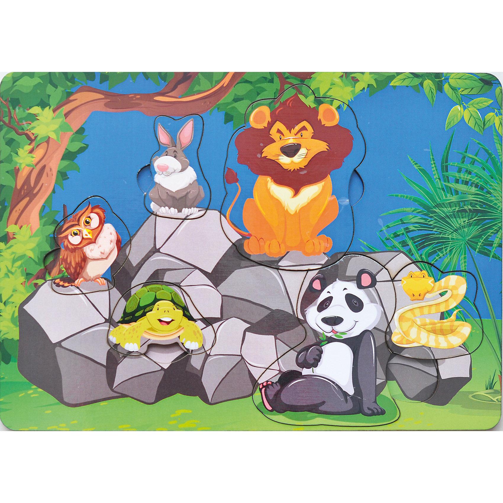 Развивающая рамка-вкладыш  «Звери на камнях», Мастер игрушекДеревянные игрушки<br>Звери на камнях - яркая рамка-вкладыш, с помощью которого ребенок познакомится с обитателями животного мира, вытащит зверюшек из ячеек и вернет обратно, выбрав нужный вырез. Яркая картинка понравится малышу, а игра поможет развить мелкую моторику, координацию и обогатить словарный запас.<br><br>Дополнительная информация:<br>В комплекте: 6 вкладышей, рамка<br>Материал: дерево<br>Размер: 0,7х19,5х28 см<br>Вес: 260 грамм<br>Вы можете купить рамку-вкладыш Звери на камнях в нашем интернет-магазине.<br><br>Ширина мм: 280<br>Глубина мм: 7<br>Высота мм: 195<br>Вес г: 260<br>Возраст от месяцев: 36<br>Возраст до месяцев: 120<br>Пол: Унисекс<br>Возраст: Детский<br>SKU: 4953657