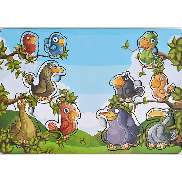 Развивающая рамка-вкладыш  «Веселые птахи», Мастер игрушекДеревянные игрушки<br>Веселые птахи - яркая рамка-вкладыш, с помощью которого ребенок познакомится с забавными птичками, рассмотрит их, вытащив из ячеек и найдет им свой домик, вставив их обратно. Яркая картинка понравится малышу, а игра поможет развить мелкую моторику, координацию и обогатить словарный запас.<br><br>Дополнительная информация:<br>В комплекте: 10 вкладышей, рамка<br>Материал: дерево<br>Размер: 0,5х19,5х28 см<br>Вес: 260 грамм<br>Вы можете купить рамку-вкладыш Веселые птахи в нашем интернет-магазине.<br>Ширина мм: 280; Глубина мм: 5; Высота мм: 195; Вес г: 260; Возраст от месяцев: 36; Возраст до месяцев: 120; Пол: Унисекс; Возраст: Детский; SKU: 4953658;