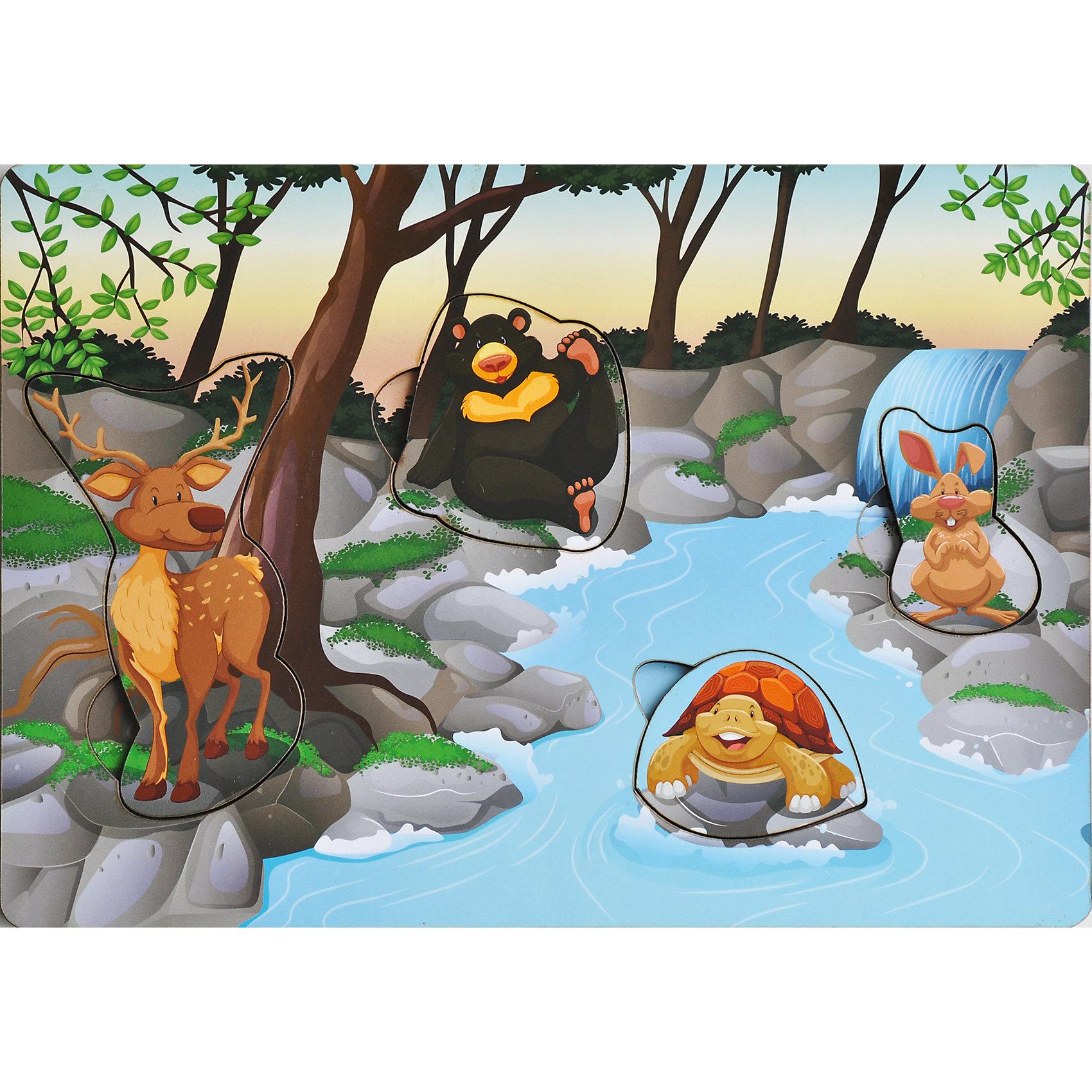 Развивающая рамка-вкладыш  «Звери на Реке», Мастер игрушекЗвери на реке - яркая рамка-вкладыш, с помощью которого ребенок познакомится с животными, отдыхающими возле реки, рассмотрит их, вытащив из ячеек и найдет им свой домик, вставив их обратно. Яркая картинка понравится малышу, а игра поможет развить мелкую моторику, координацию и обогатить словарный запас.<br><br>Дополнительная информация:<br>В комплекте: 4 вкладыша, рамка<br>Материал: дерево<br>Размер: 0,5х20х28 см<br>Вес: 260 грамм<br>Вы можете купить рамку-вкладыш Звери на реке в нашем интернет-магазине.<br><br>Ширина мм: 280<br>Глубина мм: 200<br>Высота мм: 5<br>Вес г: 260<br>Возраст от месяцев: 36<br>Возраст до месяцев: 120<br>Пол: Унисекс<br>Возраст: Детский<br>SKU: 4953659