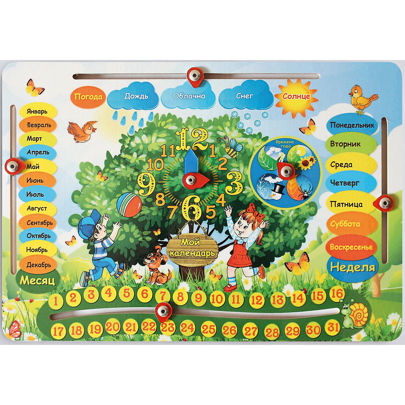 Развивающая игрушка: обучающая доска  «Календарь», Мастер игрушекИгры для дошкольников<br>Развивающая игра Календарь познакомит малыша с месяцами, днями недели, погодой, числами и часами. Доска оснащена движущимися стрелками, с помощью которых можно установить нужное время или месяц. Сначала ребенку нужно будет показать как это делается и объяснить что значит каждый месяц или час. С этой доской ребенок с радостью получит такие важные знания!<br><br>Дополнительная информация:<br>Материал: металл, дерево<br>Размер: 27.5x19 x0.5 см<br>Вес: 220 грамм<br>Вы можете приобрести Календарь в нашем интернет-магазине.<br><br>Ширина мм: 275<br>Глубина мм: 190<br>Высота мм: 10<br>Вес г: 220<br>Возраст от месяцев: 36<br>Возраст до месяцев: 120<br>Пол: Унисекс<br>Возраст: Детский<br>SKU: 4953661
