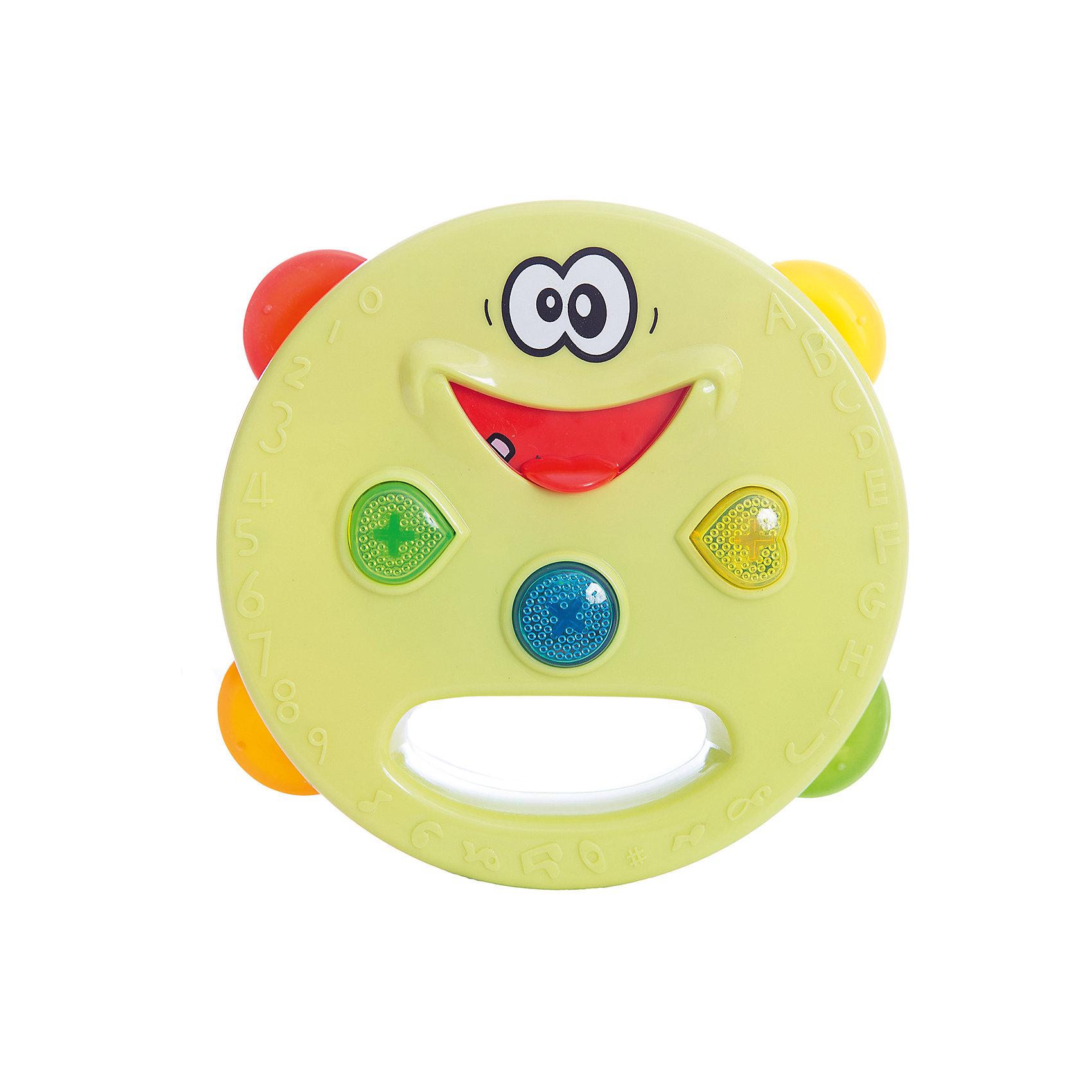 Электронный бубен, со светом, Поющий оркестр, 1toyМузыкальные инструменты и игрушки<br>Электронный бубен из серии Поющий оркестр - забавная игрушка, которая позволит ребенку не только создавать музыку самому, но и прослушивать чудесные мелодии, нажимая на язычок бубна. Игрушка с веселыми кнопками, которые светятся при нажатии. Игрушка развивает мелкую моторику, чувство ритма и мелодии. С этим бубном ребенок откроет для себя прекрасный мир музыки!<br><br>Дополнительная информация:<br>Батарейки: AAA / LR0.3 1.5V - 3 штуки( в комплект не входят)<br>Размер: 18х8х19,5 см<br>Вес: 243 грамма<br>Электронный бубен можно купить в нашем интернет-магазине.<br><br>Ширина мм: 195<br>Глубина мм: 80<br>Высота мм: 180<br>Вес г: 243<br>Возраст от месяцев: 12<br>Возраст до месяцев: 60<br>Пол: Унисекс<br>Возраст: Детский<br>SKU: 4953669