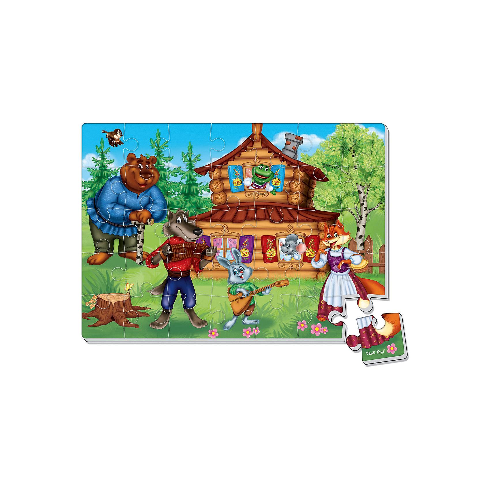 Vladi Toys Мягкие пазлы А4 Теремок, 35 деталей, Vladi Toys пазлы бомик пазлы книжка репка