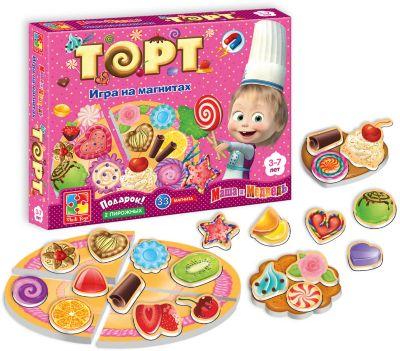 Игра на магнитах Торт , Маша и Медведь, Vladi Toys