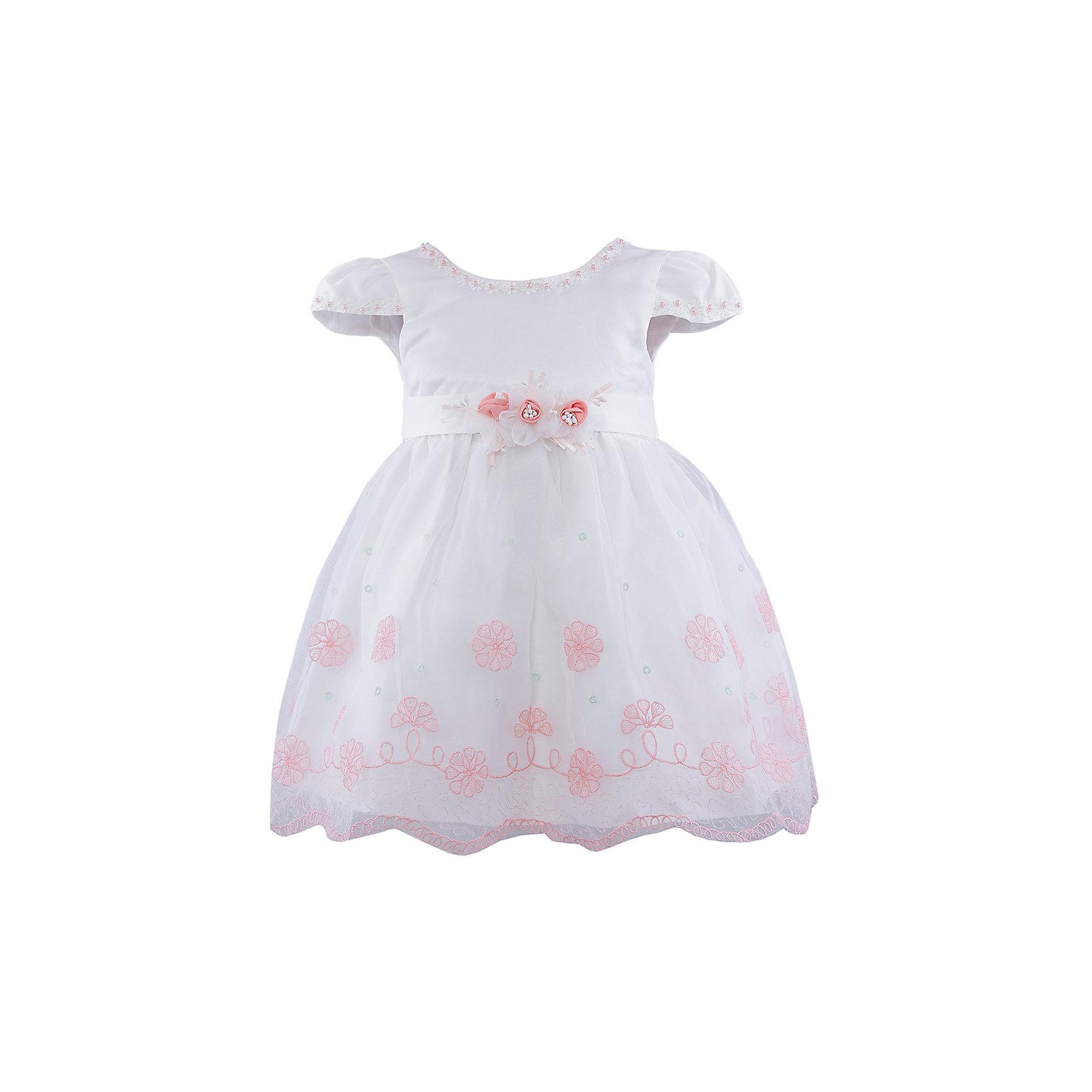 Нарядное платье для девочки VitacciОдежда<br>Платье для девочки от известного бренда Vitacci.<br>Очаровательное платье для маленькой принцессы. Модель отрезная по линии талии,с застёжкой молнией на спинке.<br>Состав:<br>100% полиэстер<br><br>Ширина мм: 236<br>Глубина мм: 16<br>Высота мм: 184<br>Вес г: 177<br>Цвет: белый/коралловый<br>Возраст от месяцев: 18<br>Возраст до месяцев: 24<br>Пол: Женский<br>Возраст: Детский<br>Размер: 90,100,110,120,80<br>SKU: 4956073