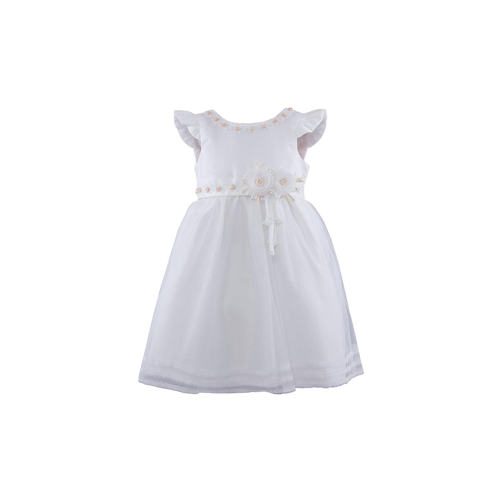 Нарядное платье для девочки VitacciОдежда<br>Платье для девочки от известного бренда Vitacci.<br>Очаровательное платье для маленькой принцессы. Модель отрезная по линии талии,с застёжкой молнией на спинке.<br>Состав:<br>100% полиэстер<br><br>Ширина мм: 236<br>Глубина мм: 16<br>Высота мм: 184<br>Вес г: 177<br>Цвет: белый/золотой<br>Возраст от месяцев: 72<br>Возраст до месяцев: 84<br>Пол: Женский<br>Возраст: Детский<br>Размер: 90,100,110,120,80<br>SKU: 4956085