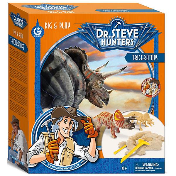 Набор для проведения раскопок + фигурка ТрицератопсНаборы для раскопок<br>Набор для проведения раскопок с фигуркой Трицератопс - занимательный набор для детей от 6 лет. С его помощью ребенок сможет самостоятельно заняться настоящими археологическими раскопками, найти части скелета тираннозавра и узнать много нового и интересного о мире динозавров. Все детали уникальны и не имеют аналогов. Такой набор станет прекрасным подарком для юных исследователей!<br><br>Дополнительная информация:<br>В комплекте: гипсовый брусок с деталями скелета внутри, фигурка трицератопса, палеонтологические инструменты(щеточка, долото, молоточек), инструкция, информационный буклет<br>Длина коллекционного динозавра: 10 см<br>Длина сборного динозавра: 17 см<br>Материал: гипс, пластик<br>Размер: 6,5х27х23 см<br>Вес: 526 грамм<br>Набор для проведения раскопок с фигуркой Трицератопс вы можете приобрести в нашем интернет-магазине.<br><br>Ширина мм: 230<br>Глубина мм: 270<br>Высота мм: 65<br>Вес г: 526<br>Возраст от месяцев: 72<br>Возраст до месяцев: 144<br>Пол: Унисекс<br>Возраст: Детский<br>SKU: 4956854