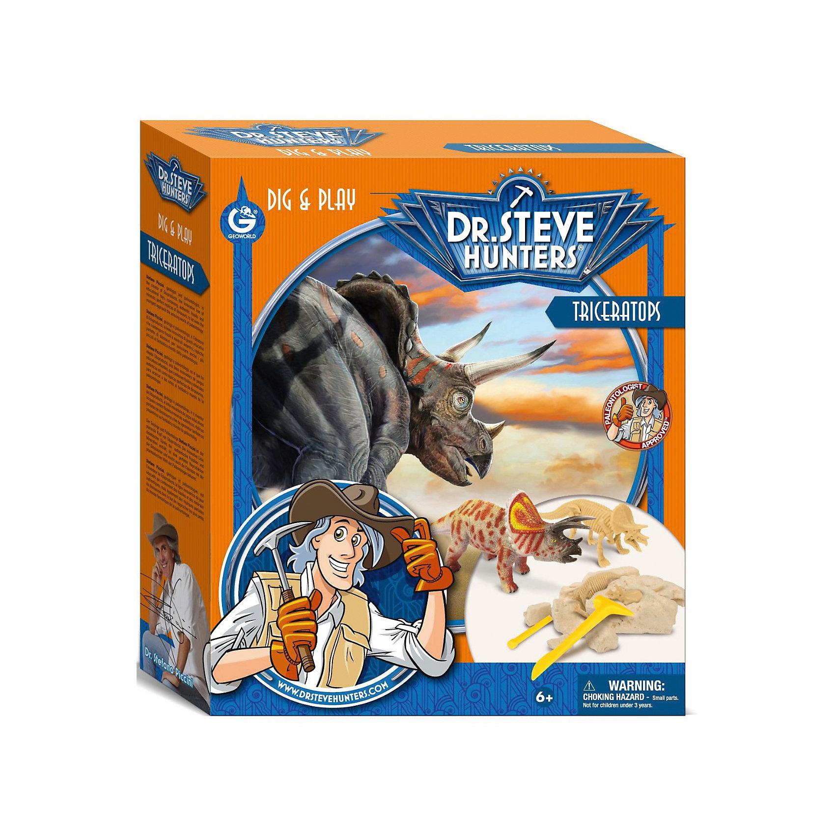 Набор для проведения раскопок + фигурка ТрицератопсНабор для проведения раскопок с фигуркой Трицератопс - занимательный набор для детей от 6 лет. С его помощью ребенок сможет самостоятельно заняться настоящими археологическими раскопками, найти части скелета тираннозавра и узнать много нового и интересного о мире динозавров. Все детали уникальны и не имеют аналогов. Такой набор станет прекрасным подарком для юных исследователей!<br><br>Дополнительная информация:<br>В комплекте: гипсовый брусок с деталями скелета внутри, фигурка трицератопса, палеонтологические инструменты(щеточка, долото, молоточек), инструкция, информационный буклет<br>Длина коллекционного динозавра: 10 см<br>Длина сборного динозавра: 17 см<br>Материал: гипс, пластик<br>Размер: 6,5х27х23 см<br>Вес: 526 грамм<br>Набор для проведения раскопок с фигуркой Трицератопс вы можете приобрести в нашем интернет-магазине.<br><br>Ширина мм: 230<br>Глубина мм: 270<br>Высота мм: 65<br>Вес г: 526<br>Возраст от месяцев: 72<br>Возраст до месяцев: 144<br>Пол: Унисекс<br>Возраст: Детский<br>SKU: 4956854