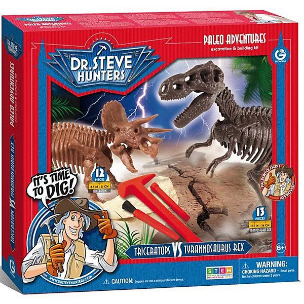 Двойной набор для проведения раскопок  Т-Рекс и ТрицератопсНаборы для раскопок<br>С помощью набора для проведения раскопок Т-Рекс и Трицератопс ваш ребенок сможет самостоятельно найти и собрать скелеты динозавров. Буклет с древними обитателями нашей планеты расскажут начинающему палеонтологу много интересных фактов о динозаврах, а настоящие палеонтологические инструменты помогут погрузиться в увлекательнейший мир доисторических обитателей. Все детали уникальны и не имеют аналогов. Отличный выбор для любознательных детей!<br><br>Дополнительная информация:<br>В наборе: гипсовый брусок с деталями скелетов динозавров, инструменты для раскопок(щеточка, молоточек, долото), защитные очки, постер, пластиковый настил, инструкция, информационный буклет<br>Материал: гипс, пластик<br>Длина сборного тираннозавра: 34 см(13 частей)<br>Длина сборного трицератопса: 21 см(12 частей)<br>Размер: 6,4х30,5х33 см<br>Вес: 917 грамм<br>Вы можете купить набор для проведения раскопок Т-Рекс и Трицератопс в нашем интернет-магазине.<br>Ширина мм: 330; Глубина мм: 305; Высота мм: 64; Вес г: 917; Возраст от месяцев: 72; Возраст до месяцев: 144; Пол: Унисекс; Возраст: Детский; SKU: 4956856;