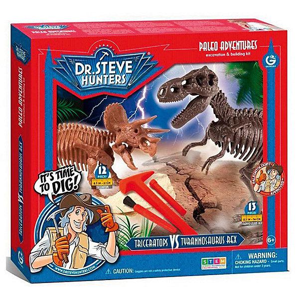 Двойной набор для проведения раскопок Саблезубый тигр и МамонтНаборы для раскопок<br>С помощью набора для проведения раскопок Саблезубый тигр и Мамонт ваш ребенок сможет самостоятельно найти и собрать скелеты древнейших животных. Буклет с древними обитателями нашей планеты расскажут начинающему палеонтологу много интересных фактов, а настоящие палеонтологические инструменты помогут погрузиться в увлекательнейший мир доисторических обитателей. Все детали уникальны и не имеют аналогов. Отличный выбор для любознательных детей!<br><br>Дополнительная информация:<br>В наборе: гипсовый брусок с деталями скелетов, инструменты для раскопок(щеточка, молоточек, долото), защитные очки, постер, пластиковый настил, инструкция, информационный буклет<br>Материал: гипс, пластик<br>Длина сборного мамонта: 26 см(12 частей)<br>Длина сборного смилодона: 23 см(13 частей)<br>Размер: 6,4х30,5х33 см<br>Вес: 917 грамм<br>Вы можете купить набор для проведения раскопок Саблезубый тигр и Мамонт в нашем интернет-магазине.<br>Ширина мм: 330; Глубина мм: 305; Высота мм: 64; Вес г: 917; Возраст от месяцев: 72; Возраст до месяцев: 144; Пол: Унисекс; Возраст: Детский; SKU: 4956857;