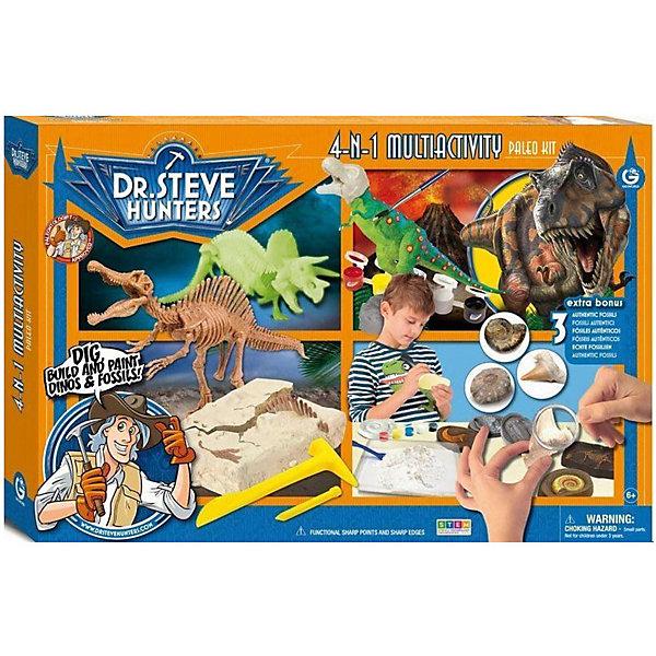 Набор Мультиактив 4 в 1Наборы для раскопок<br>С набором Мультиактив 4 в 1 ваш ребенок сможет узнать еще больше об увлекательном мире динозавров. В процессе игры юному палеонтологу предстоит  собрать и раскрасить тираннозавра, найти и собрать скелет огромного спинозавра, собрать трицератопса, который красиво светится в темноте, сделать копии своих ископаемых и раскрасить их. Такая игра прекрасно развивает мелкую моторику и расширяет кругозор. Все детали уникальны и не имеют аналогов. Эта игра несомненно понравится ребенку!<br><br>Дополнительная информация: <br>В наборе: разобранные скелеты трицератопса и тираннозавра, гипсовый брусок со скелетом спинозавра, три настоящих ископаемых - зубы акулы, ложка, лупа, гипс(0,5 кг), 5 формочек, краски(2 набора по 5 цветов), 2 кисточки, инструменты для раскопок, инструкция, информационный буклет<br>Материал: гипс, пластик<br>Длина тираннозавра: 21 см(12 частей)<br>Длина спинозавра: 32 см(14 частей)<br>Размер: 6,5х33х48 см<br>Вес: 1167 грамм<br>Вы можете купить набор Мультиактив 4 в 1 в нашем интернет-магазине.<br><br>Ширина мм: 480<br>Глубина мм: 330<br>Высота мм: 65<br>Вес г: 1167<br>Возраст от месяцев: 72<br>Возраст до месяцев: 144<br>Пол: Унисекс<br>Возраст: Детский<br>SKU: 4956868