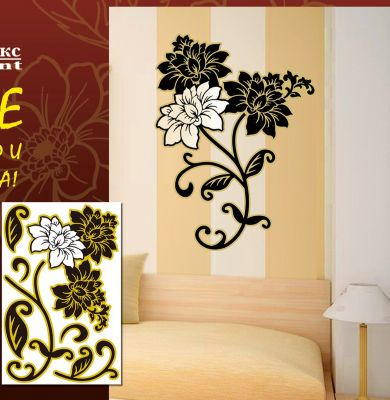 Феникс-Презент Декораттивная наклейка на стену Цветы (33,5*52 см)