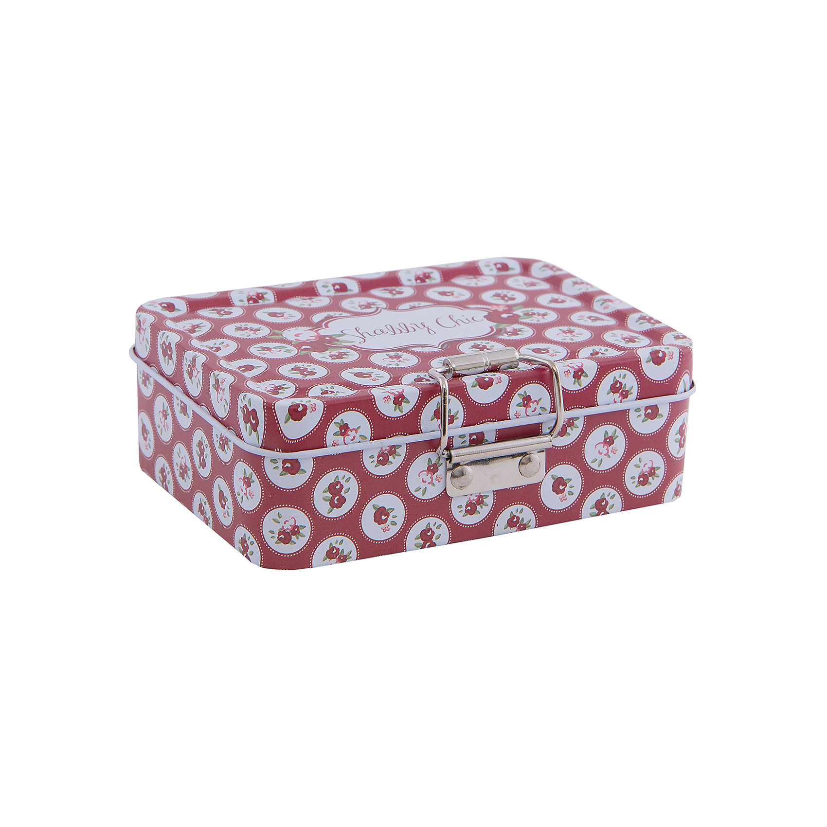 Коробка для безделушек и мелочей Шебби шик красная (12.5*9*4см)Коробка для безделушек и мелочей Шебби шик красная изготовлена из металла, закрывается крышкой и застежкой, есть съемное отделение. Коробка украшена симпатичным рисунком, достаточно вместительная и отлично подойдет для хранения небольших вещей. Такая коробка приятно дополнит интерьер комнаты или станет восхитительным подарком близкому человеку.<br><br>Дополнительная информация:<br>Дополнительное съемное отделение<br>Материал:  металл<br>Размер: 12,5х9х4 см<br>Коробку для безделушек и мелочей Шебби шик красная вы можете купить в нашем интернет-магазине.<br><br>Ширина мм: 310<br>Глубина мм: 460<br>Высота мм: 460<br>Вес г: 151<br>Возраст от месяцев: 84<br>Возраст до месяцев: 216<br>Пол: Унисекс<br>Возраст: Детский<br>SKU: 4957959