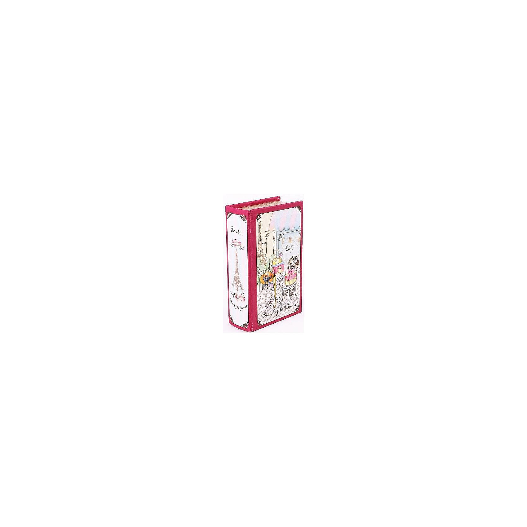 Шкатулка декоративная  Парижское кафе (17*11*5см)Стильная декоративная шкатулка Парижское кафе выполнена в форме книги с оригинальным рисунком. Она отлично подойдет для хранения мелочей и безделушек, есть отделение для украшений. Отличный вариант для ценного и оригинального подарка!<br><br>Дополнительная информация:<br>Материал: МДФ<br>Размер: 5х26х17 см<br>Вес: 285 грамм<br>Декоративную шкатулку Парижское кафе можно купить в нашем интернет-магазине.<br><br>Ширина мм: 390<br>Глубина мм: 300<br>Высота мм: 370<br>Вес г: 310<br>Возраст от месяцев: 84<br>Возраст до месяцев: 216<br>Пол: Унисекс<br>Возраст: Детский<br>SKU: 4957971