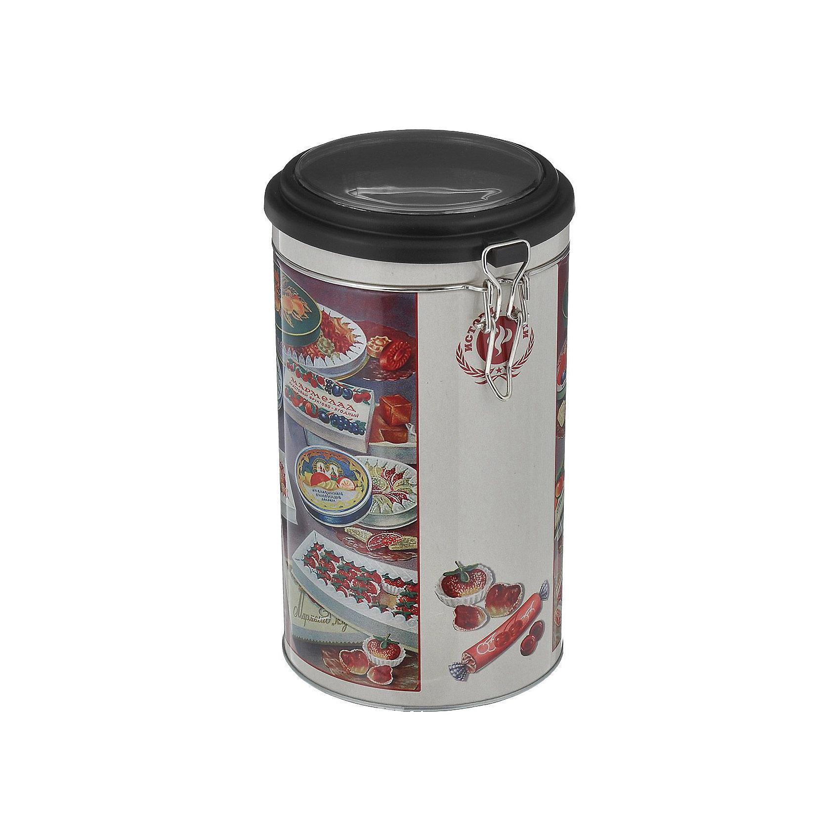 Емкость для сыпучих продуктов Мармелад 1800млПосуда<br>Емкость для сыпучих продуктов Мармелад сделана из металла и декорирована рисунком с изображением мармелада, удобно и плотно закрывается крышкой. Можно использовать для сахара, круп, муки и прочих сыпучих продуктов. Такая емкость прекрасно подойдет для вашей кухни!<br><br>Дополнительная информация: <br>Материал: черный окрашенный металл, пластик<br>Размер: 11х11х19,5 см<br>Объем: 1800 мл<br>Вы можете приобрести емкость для сыпучих продуктов Мармелад в нашем интернет-магазине.<br><br>Ширина мм: 360<br>Глубина мм: 690<br>Высота мм: 420<br>Вес г: 187<br>Возраст от месяцев: 84<br>Возраст до месяцев: 216<br>Пол: Унисекс<br>Возраст: Детский<br>SKU: 4957991