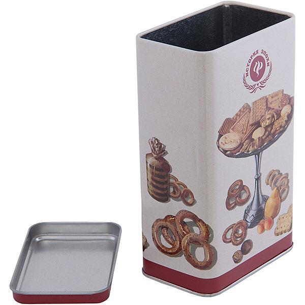 Емкость для сыпучих продуктов Печеньки 900 млКухонная утварь<br>Емкость для сыпучих продуктов Печеньки изготовлена из металла и украшена рисунком с изображением печенья и сушек. Удобно закрывается крышкой во избежание появления неприятных запахов. В такой емкости удобно хранить чай, крупы, сахар и другие сыпучие предметы. Прекрасно впишется в интерьер кухни!<br><br>Дополнительная информация:<br>Материал: металл<br>Объем: 900 мл<br>Размер: 9,8х6х16,2 см<br>Вес: 105 грамм<br><br>Емкость для сыпучих продуктов Печеньки можно купить в нашем интернет-магазине.<br><br>Ширина мм: 510<br>Глубина мм: 320<br>Высота мм: 510<br>Вес г: 111<br>Возраст от месяцев: 84<br>Возраст до месяцев: 216<br>Пол: Унисекс<br>Возраст: Детский<br>SKU: 4957993