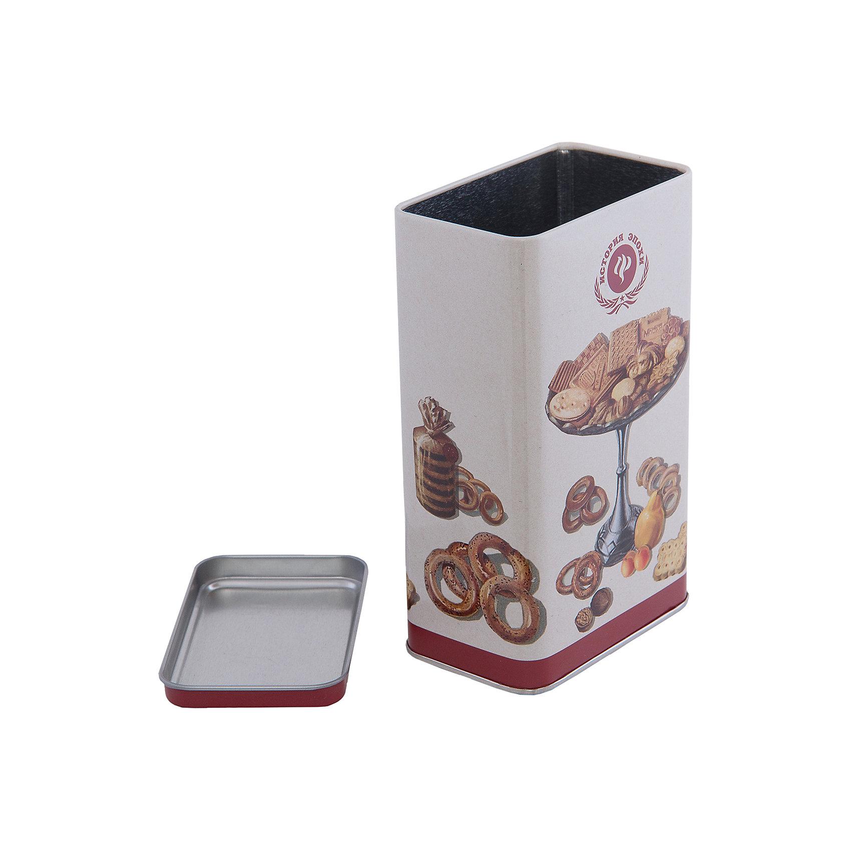 Емкость для сыпучих продуктов Печеньки 900 млПосуда<br>Емкость для сыпучих продуктов Печеньки изготовлена из металла и украшена рисунком с изображением печенья и сушек. Удобно закрывается крышкой во избежание появления неприятных запахов. В такой емкости удобно хранить чай, крупы, сахар и другие сыпучие предметы. Прекрасно впишется в интерьер кухни!<br><br>Дополнительная информация:<br>Материал: металл<br>Объем: 900 мл<br>Размер: 9,8х6х16,2 см<br>Вес: 105 грамм<br><br>Емкость для сыпучих продуктов Печеньки можно купить в нашем интернет-магазине.<br><br>Ширина мм: 510<br>Глубина мм: 320<br>Высота мм: 510<br>Вес г: 111<br>Возраст от месяцев: 84<br>Возраст до месяцев: 216<br>Пол: Унисекс<br>Возраст: Детский<br>SKU: 4957993
