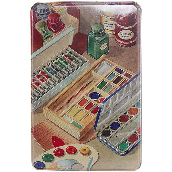 Коробка для бытовых нужд Краски 1700млДетские предметы интерьера<br>Краски - металлическая коробка для бытовых нужд, в которую прекрасно поместятся  небольшие предметы для дома. Коробка закрывается крышкой и декорирована  рисунком с изображением различных красок. С такой коробкой приятно будет добавить немного ретро в свой дом.<br><br>Дополнительная информация:<br>Материал: металл<br>Размер: 20х7 см<br>Объем: 1700 мл<br>Коробку для бытовых нужд Краски вы можете приобрести в нашем интернет-магазине.<br><br>Ширина мм: 420<br>Глубина мм: 430<br>Высота мм: 550<br>Вес г: 184<br>Возраст от месяцев: 84<br>Возраст до месяцев: 216<br>Пол: Унисекс<br>Возраст: Детский<br>SKU: 4957999