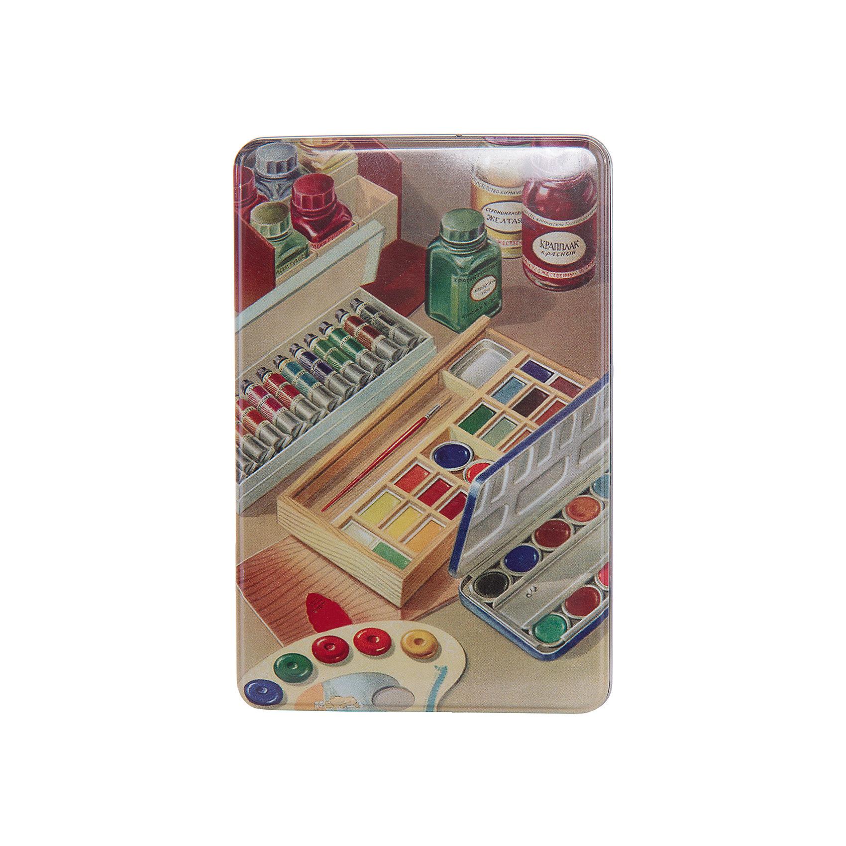 Коробка для бытовых нужд Краски 1700млПредметы интерьера<br>Краски - металлическая коробка для бытовых нужд, в которую прекрасно поместятся  небольшие предметы для дома. Коробка закрывается крышкой и декорирована  рисунком с изображением различных красок. С такой коробкой приятно будет добавить немного ретро в свой дом.<br><br>Дополнительная информация:<br>Материал: металл<br>Размер: 20х7 см<br>Объем: 1700 мл<br>Коробку для бытовых нужд Краски вы можете приобрести в нашем интернет-магазине.<br><br>Ширина мм: 420<br>Глубина мм: 430<br>Высота мм: 550<br>Вес г: 184<br>Возраст от месяцев: 84<br>Возраст до месяцев: 216<br>Пол: Унисекс<br>Возраст: Детский<br>SKU: 4957999