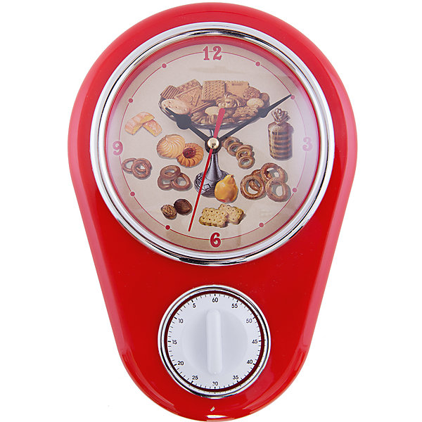 Кухонные настенные часы Печенье с таймеромДетские предметы интерьера<br>Кухонные настенные часы Печенье станут лучшим помощником любой хозяйки! Циферблат декорирован рисунком со сладостями в ретро-стиле. Часы оснащены таймером на 60 минут, что будет удобно при приготовления блюд. Часы вешаются на стену и работают от одной батарейки тип АА(в комплект не входит).<br>Такие часы будут прекрасным украшением для вашей кухни!<br><br>Дополнительная информация:<br>Материал: пластик<br>Тип батареи: АА<br>Тип часов: кварцевые<br>Размер: 24 x 17 x 7 см<br>Вес: 340 грамм<br>Кухонные настенные часы Печенье можно приобрести в нашем интернет-магазине.<br>Ширина мм: 260; Глубина мм: 360; Высота мм: 630; Вес г: 345; Возраст от месяцев: 84; Возраст до месяцев: 216; Пол: Унисекс; Возраст: Детский; SKU: 4958002;