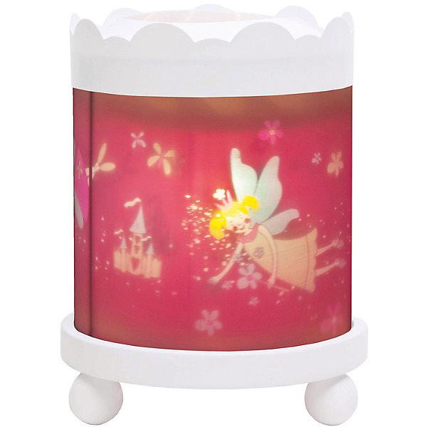 Светильник-ночник с функцией проектора Fairy Princess Фея, TrousselierДетские предметы интерьера<br>Любые ночные страхи легко уходят из комнаты, в которой стоит ночник! С ночником любое помещение становится уютнее! Для детей это еще и повышение качества сна - с ночником они спят спокойнее, так как вокруг нет пугающей темноты.<br>Этот ночник выглядит очень красиво - на нем изображены симпатичные картинки, жароустойчивый цилиндр ночника вращается и создает приятное мягкое освещение вокруг него. Корпус ночника - прочный, металлический. Если его снять, то ночник будет работать как проектор и отправлять изображение героев на стены. Изделие произведено из высококачественных материалов, и соответствует европейским стандартам безопасности.<br><br>Дополнительная информация:<br><br>цвет: разноцветный;<br>материал: металл, жароустойчивый пластик, дерево;<br>работает от розетки;<br>внутри - лампочка 12 V 20 W;<br>вес: 800 г;<br>размер: 17 х 17 х 22 см.<br><br>Светильник-ночник с функцией проектора Fairy Princess Фея от французской компании Trousselier можно купить в нашем магазине.<br><br>Ширина мм: 175<br>Глубина мм: 175<br>Высота мм: 260<br>Вес г: 930<br>Возраст от месяцев: 0<br>Возраст до месяцев: 216<br>Пол: Женский<br>Возраст: Детский<br>SKU: 4961814