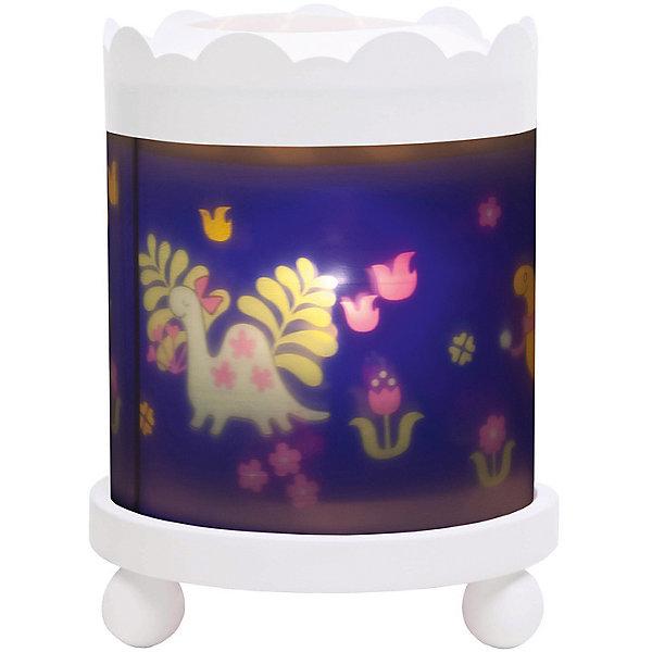 Светильник-ночник с функцией проектора Dinosaurs, TrousselierДетские предметы интерьера<br>Ночные страхи легко уходят из комнаты, в которой стоит ночник! С ночником любое помещение становится уютнее! Для детей это еще и повышение качества сна - с ночником они спят спокойнее, так как вокруг нет пугающей темноты.<br>Этот ночник выглядит очень красиво - на нем изображены динозавры, жароустойчивый цилиндр ночника вращается и создает приятное мягкое освещение вокруг него. Корпус ночника - прочный, металлический. Если его снять, то ночник будет работать как проектор и отправлять изображение героев на стены. Изделие произведено из высококачественных материалов, и соответствует европейским стандартам безопасности.<br><br>Дополнительная информация:<br><br>цвет: разноцветный;<br>материал: металл, жароустойчивый пластик, дерево;<br>работает от розетки;<br>внутри - лампочка 12 V 20 W;<br>вес: 800 г;<br>размер: 17 х 17 х 22 см.<br><br>Светильник-ночник с функцией проектора Dinosaurs от французской компании Trousselier можно купить в нашем магазине.<br><br>Ширина мм: 175<br>Глубина мм: 175<br>Высота мм: 260<br>Вес г: 930<br>Возраст от месяцев: 0<br>Возраст до месяцев: 216<br>Пол: Мужской<br>Возраст: Детский<br>SKU: 4961815