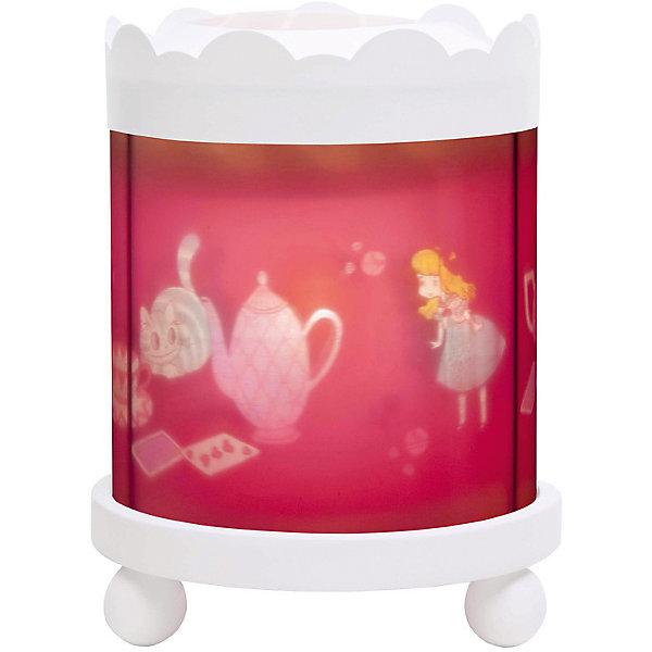 Светильник-ночник с функцией проектора Alice, TrousselierДетские предметы интерьера<br>Любые ночные страхи легко уходят из комнаты, в которой стоит ночник! С ночником любое помещение становится уютнее! Для детей это еще и повышение качества сна - с ночником они спят спокойнее, так как вокруг нет пугающей темноты.<br>Этот ночник выглядит очень красиво - на нем изображена Алиса в стране чудес, жароустойчивый цилиндр ночника вращается и создает приятное мягкое освещение вокруг него. Корпус ночника - прочный, металлический. Если его снять, то ночник будет работать как проектор и отправлять изображение героев на стены. Изделие произведено из высококачественных материалов, и соответствует европейским стандартам безопасности.<br><br>Дополнительная информация:<br><br>цвет: разноцветный;<br>материал: металл, жароустойчивый пластик, дерево;<br>работает от розетки;<br>внутри - лампочка 12 V 20 W;<br>вес: 800 г;<br>размер: 17 х 17 х 22 см.<br><br>Светильник-ночник с функцией проектора  Alice от французской компании Trousselier можно купить в нашем магазине.<br><br>Ширина мм: 175<br>Глубина мм: 175<br>Высота мм: 260<br>Вес г: 930<br>Возраст от месяцев: 0<br>Возраст до месяцев: 216<br>Пол: Женский<br>Возраст: Детский<br>SKU: 4961816
