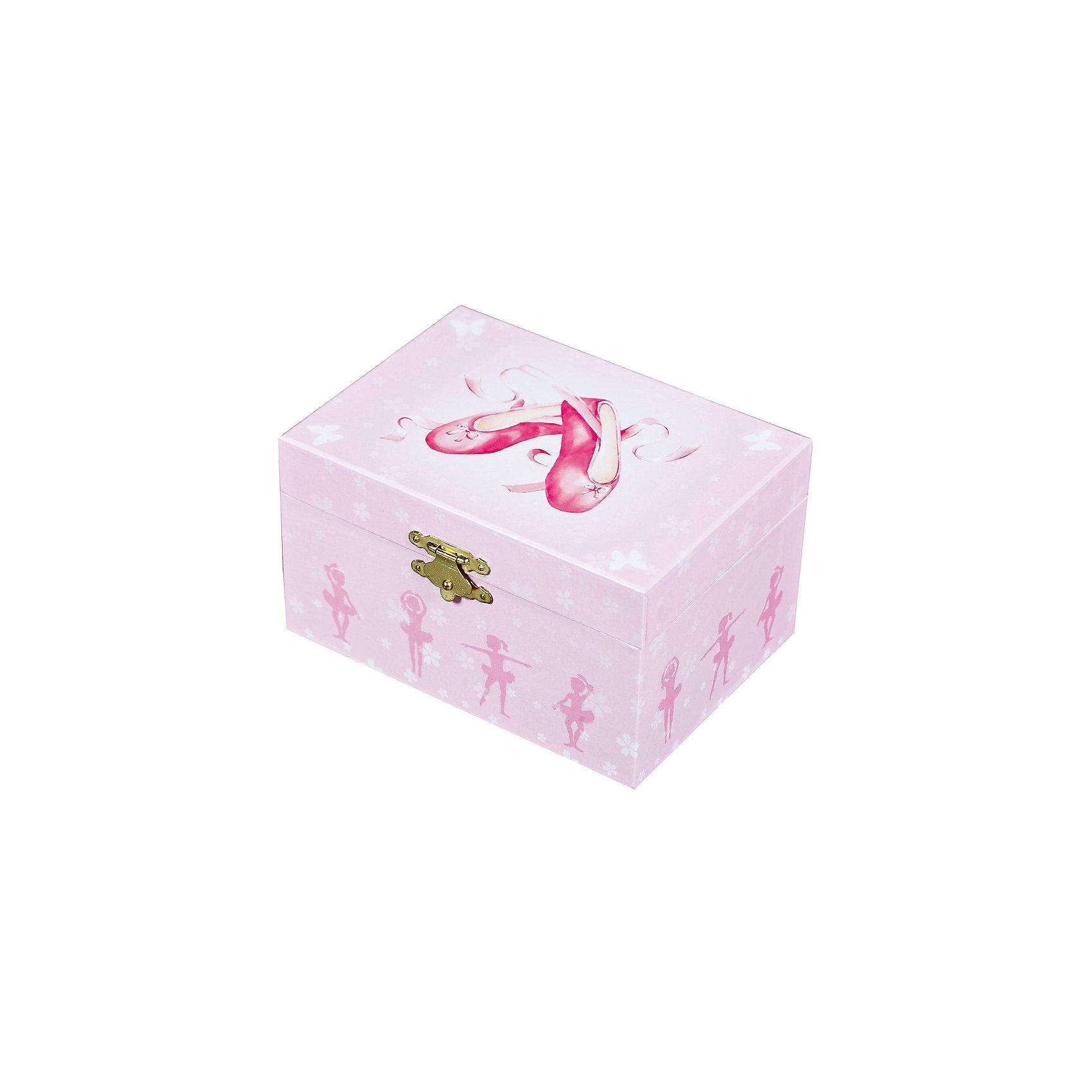 Музыкальная шкатулка Пуанты Ballerina Shoes, Trousselier, pinkМузыкальная шкатулка - это мечта множества девчонок. Подарите девочке настоящую музыкальную шкатулку с заводным механизмом от французской компании Trousselier. Шкатулка проигрывает приятную мелодию.<br>Она выглядит очень красиво - на ней симпатичная картинка. Внутри шкатулки даже есть место для хранения разных мелочей и зеркальце. Изделие произведено из высококачественных материалов, и соответствует европейским стандартам безопасности.<br><br>Дополнительная информация:<br><br>цвет: розовый;<br>материал: дерево;<br>внутри зеркало;<br>заводной механизм;<br>размер: 11 х 11 х 9 см.<br><br>Музыкальную шкатулку Пуанты Ballerina Shoes от французской компании Trousselier можно купить в нашем магазине.<br><br>Ширина мм: 150<br>Глубина мм: 80<br>Высота мм: 105<br>Вес г: 760<br>Возраст от месяцев: 12<br>Возраст до месяцев: 216<br>Пол: Женский<br>Возраст: Детский<br>SKU: 4961850