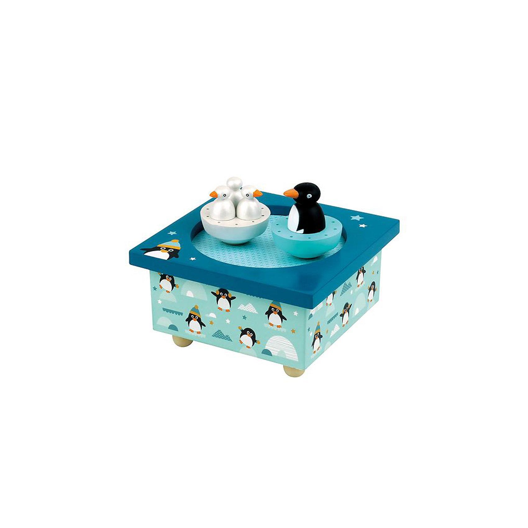 Музыкальная шкатулка Пингвин&#13;, TrousselierМузыкальная шкатулка Пингвин&#13;, Trousselier<br><br>ВНИМАНИЕ! Шкатулка предназначена для декора комнаты, она не открывается и хранить в ней разные мелочи и бижутерию невозможно.<br><br>Какая девочка не мечтает о музыкальной шкатулке? Подарите девочке настоящую музыкальную шкатулку с заводным механизмом от французской компании Trousselier. Шкатулка проигрывает приятную мелодию, заводится с помощью ключика.<br>Она выглядит очень красиво - на ней симпатичный пингвин, который кружится при проигрывании мелодии. Шкатулка упакована в подарочную коробку производителя. Изделие произведено из высококачественных материалов, и соответствует европейским стандартам безопасности.<br><br>Дополнительная информация:<br><br>цвет: разноцветный;<br>материал: дерево;<br>подарочная упаковка;<br>заводной механизм;<br>размер: 11 х 11 х 7 см.<br><br>Музыкальную шкатулку Пингвин от французской компании Trousselier можно купить в нашем магазине.<br><br>Ширина мм: 114<br>Глубина мм: 114<br>Высота мм: 70<br>Вес г: 290<br>Возраст от месяцев: 12<br>Возраст до месяцев: 216<br>Пол: Унисекс<br>Возраст: Детский<br>SKU: 4961869